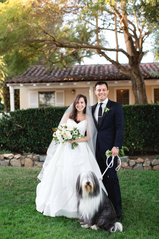 wedding couple portrait with dog