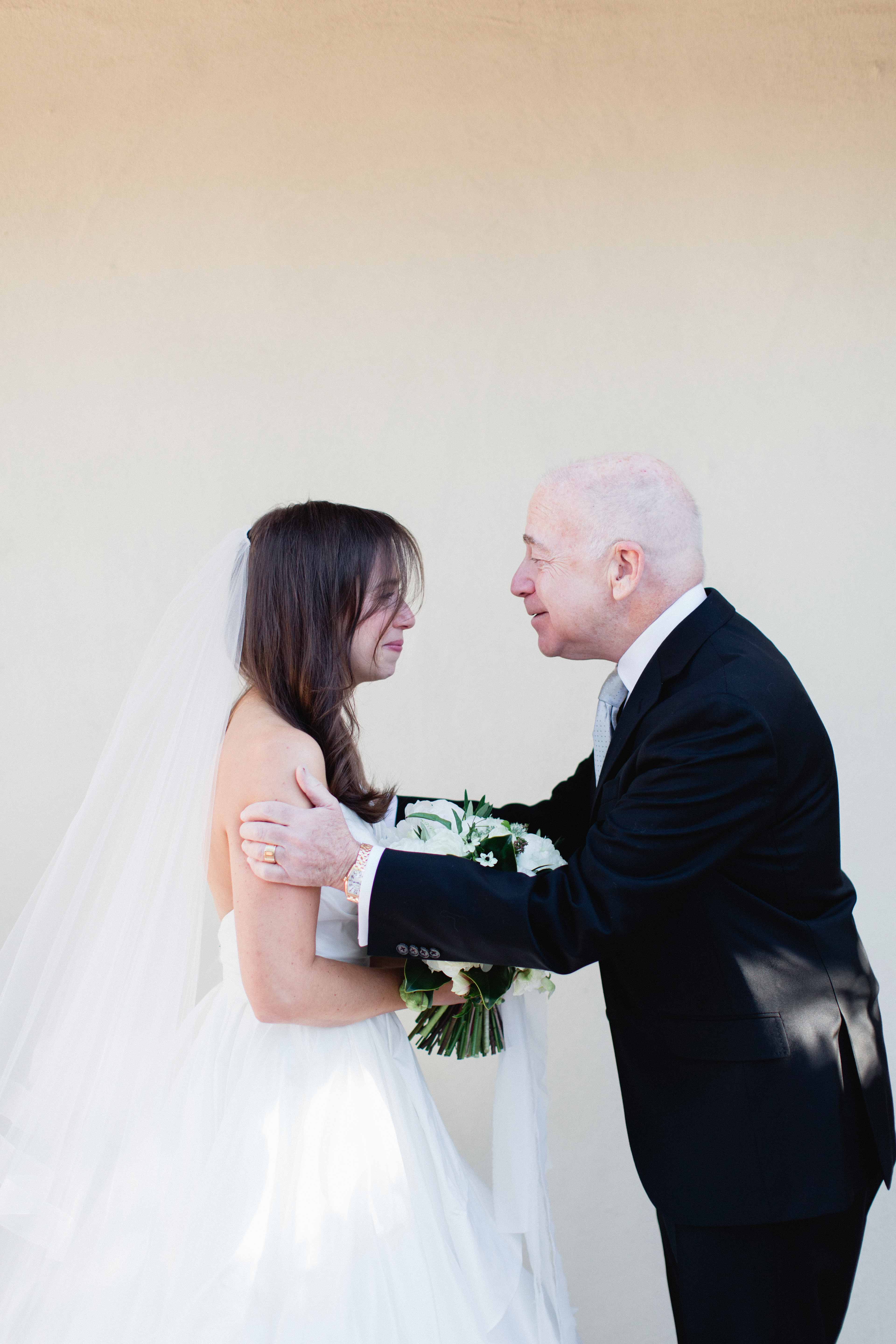 bride and father crying