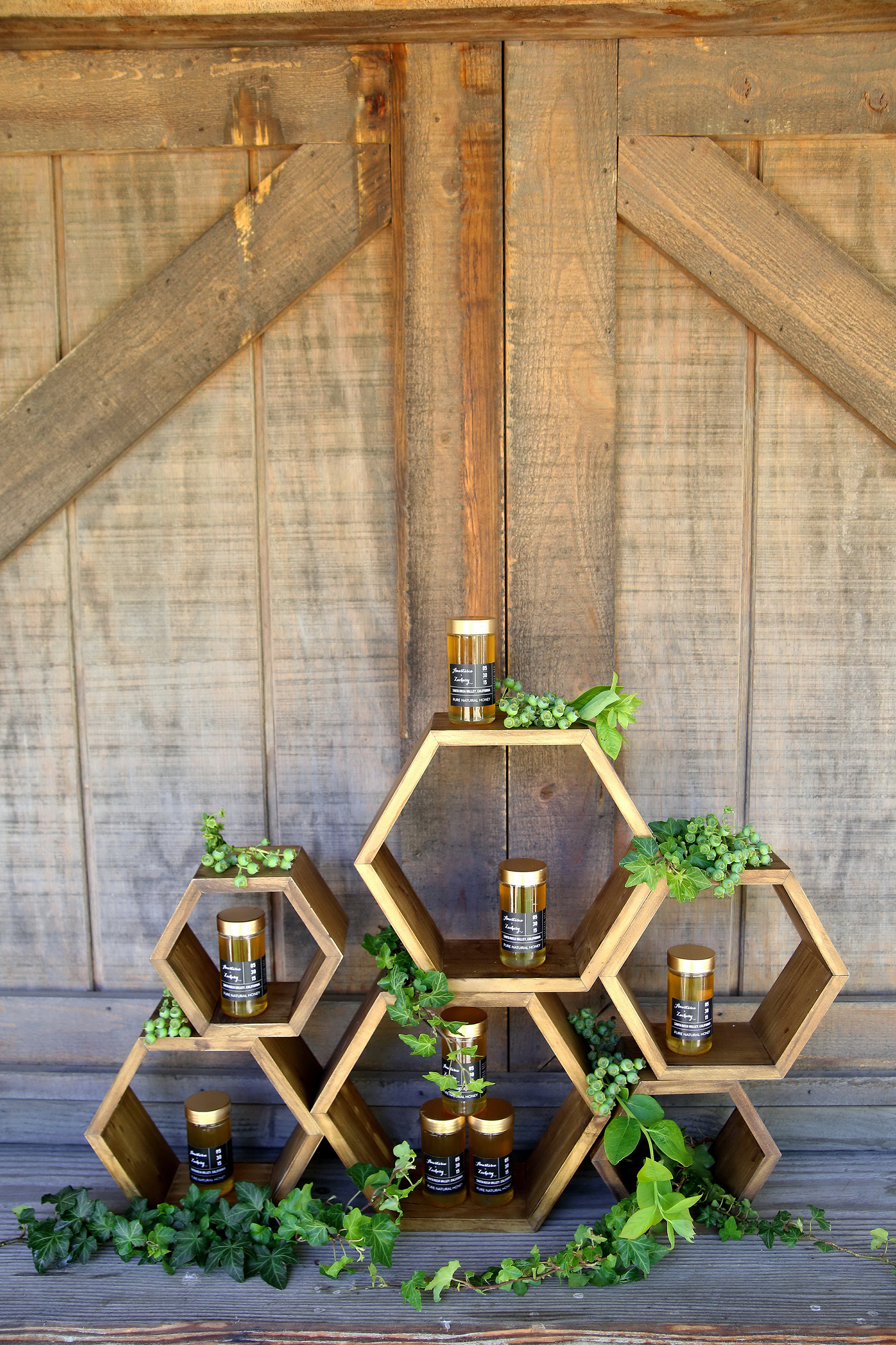 Honeycomb Wedding Inspiration, Honeycomb Shaped Favor Shelf with Honey Favors