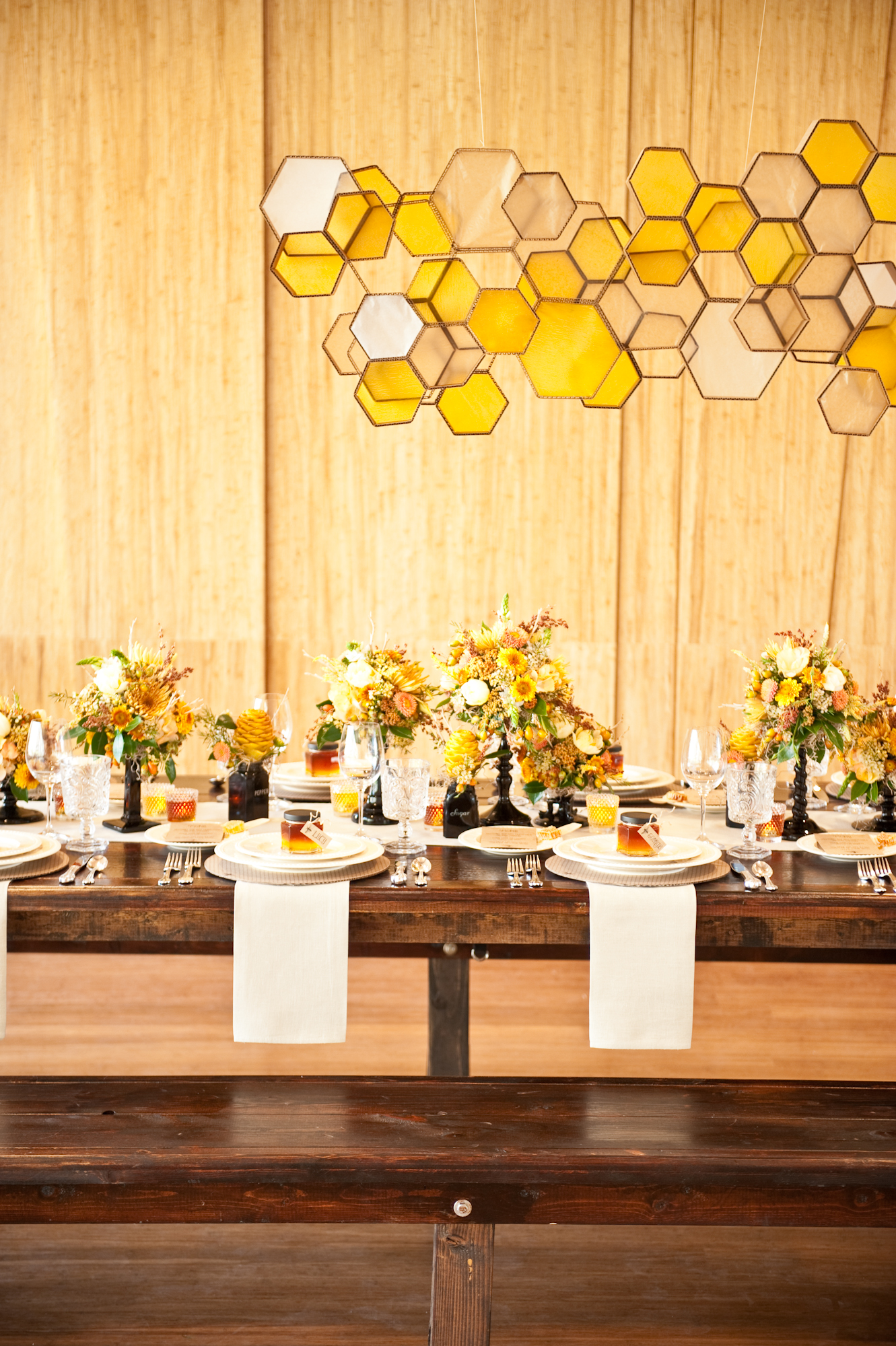 Honeycomb Wedding Inspiration, Hanging Honeycomb Light Installation