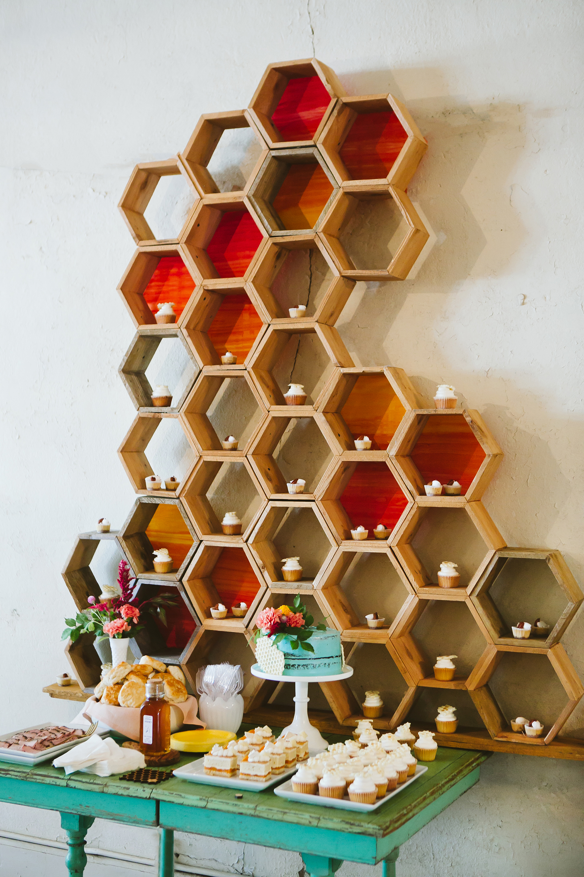 Honeycomb Wedding Inspiration, Dessert Backdrop in Honeycomb Shape