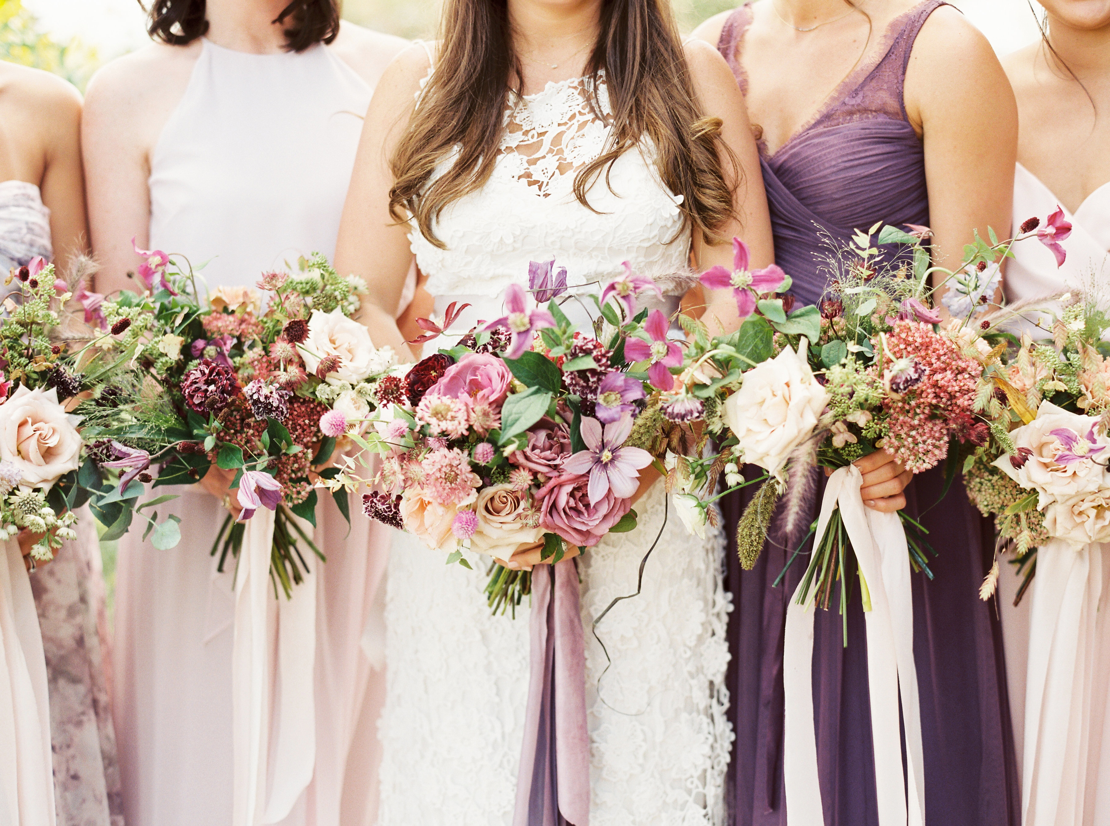 bridesmaid bouquets pinks