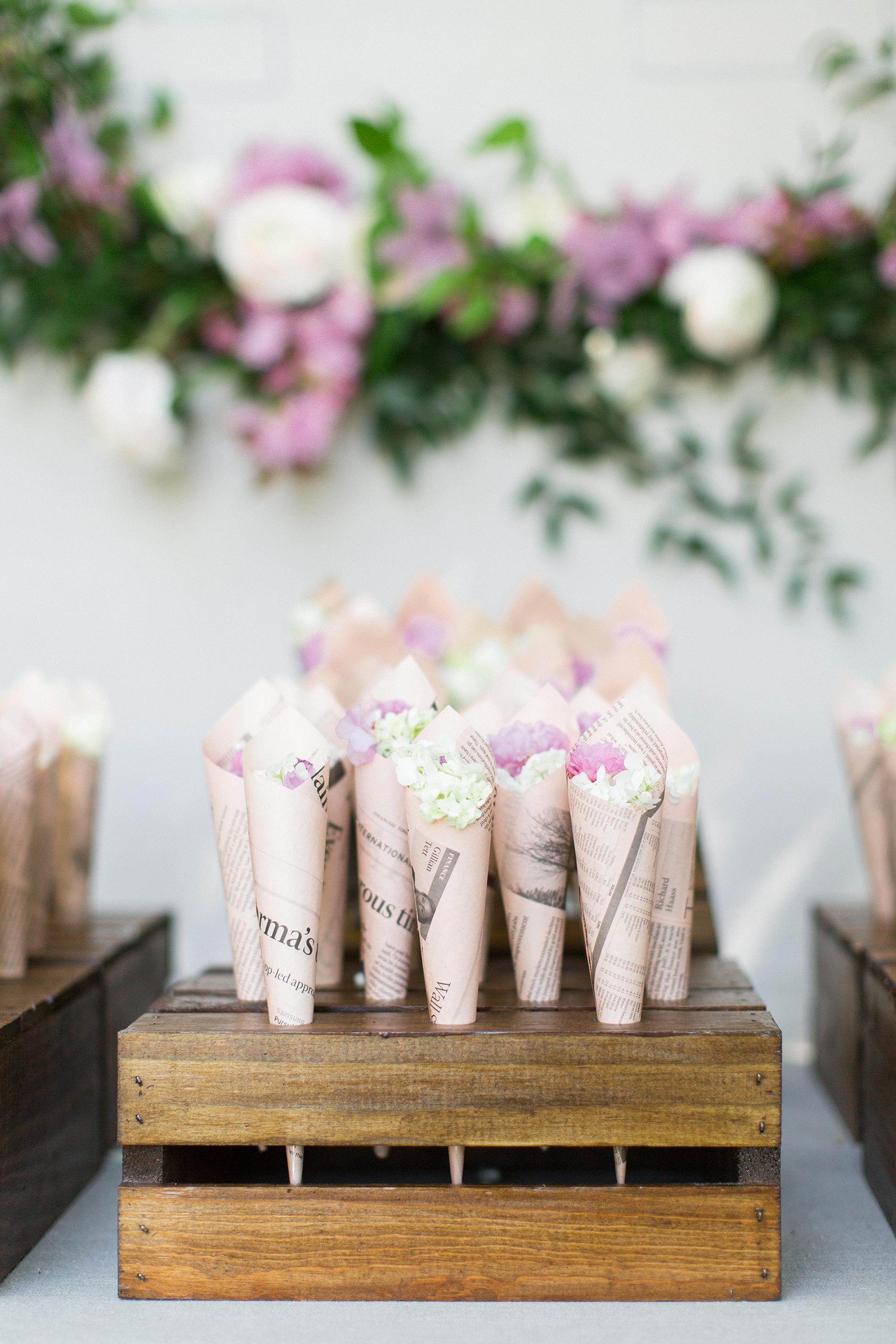 Wedding Petal Bar, Vintage Paper Cones