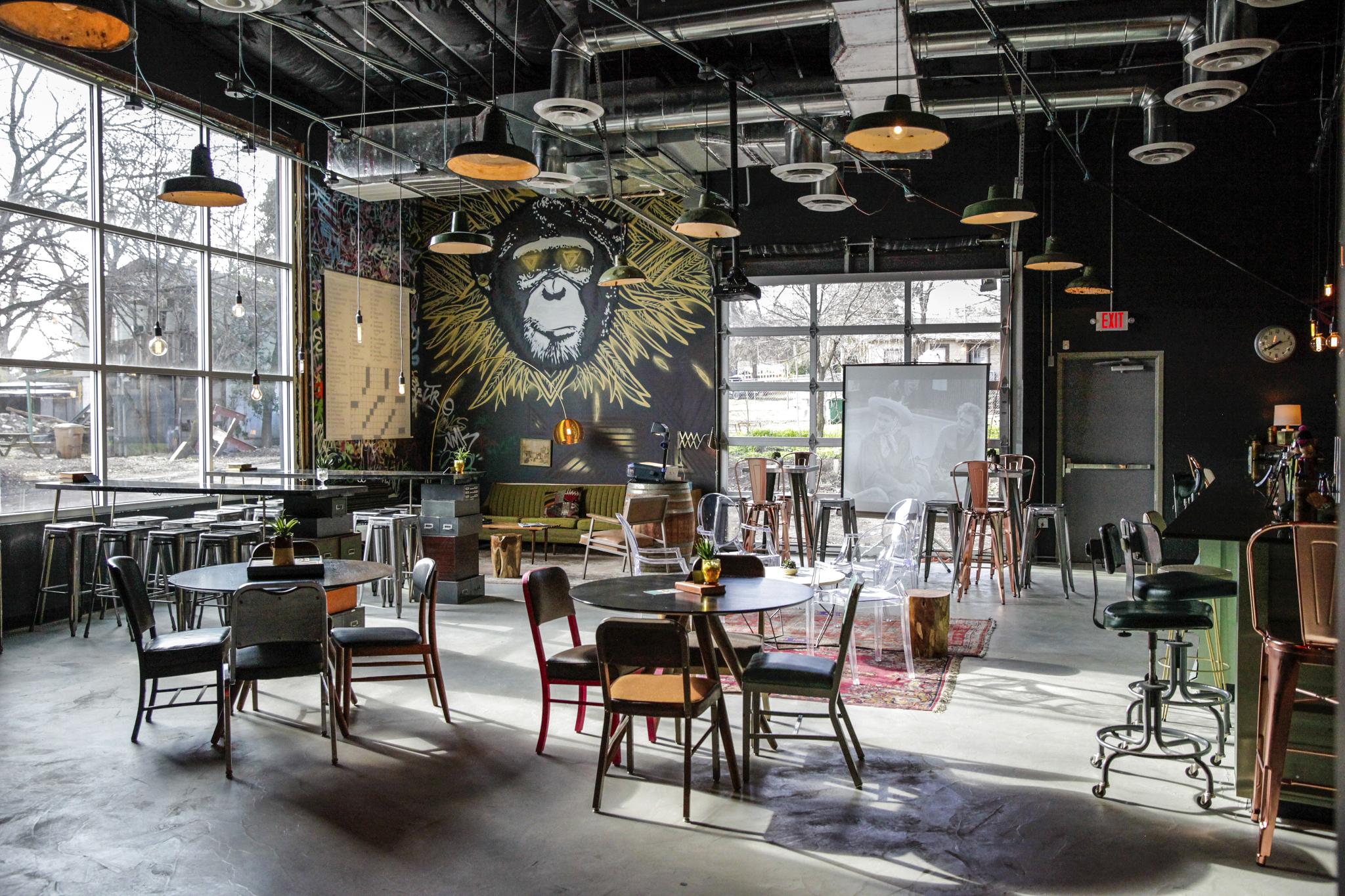 bar table chairs mural