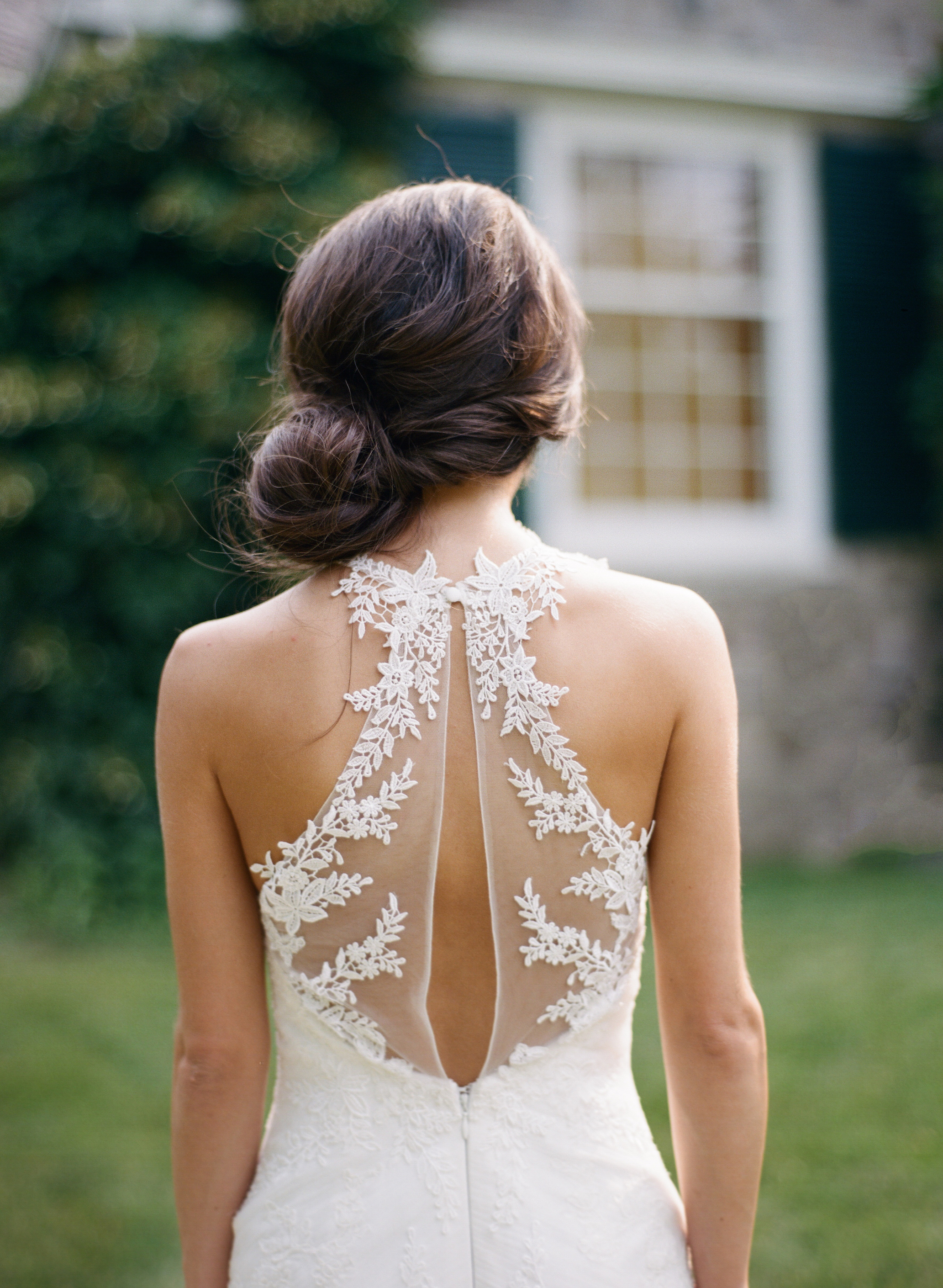 A Bride in a Wedding Dress with Back Details