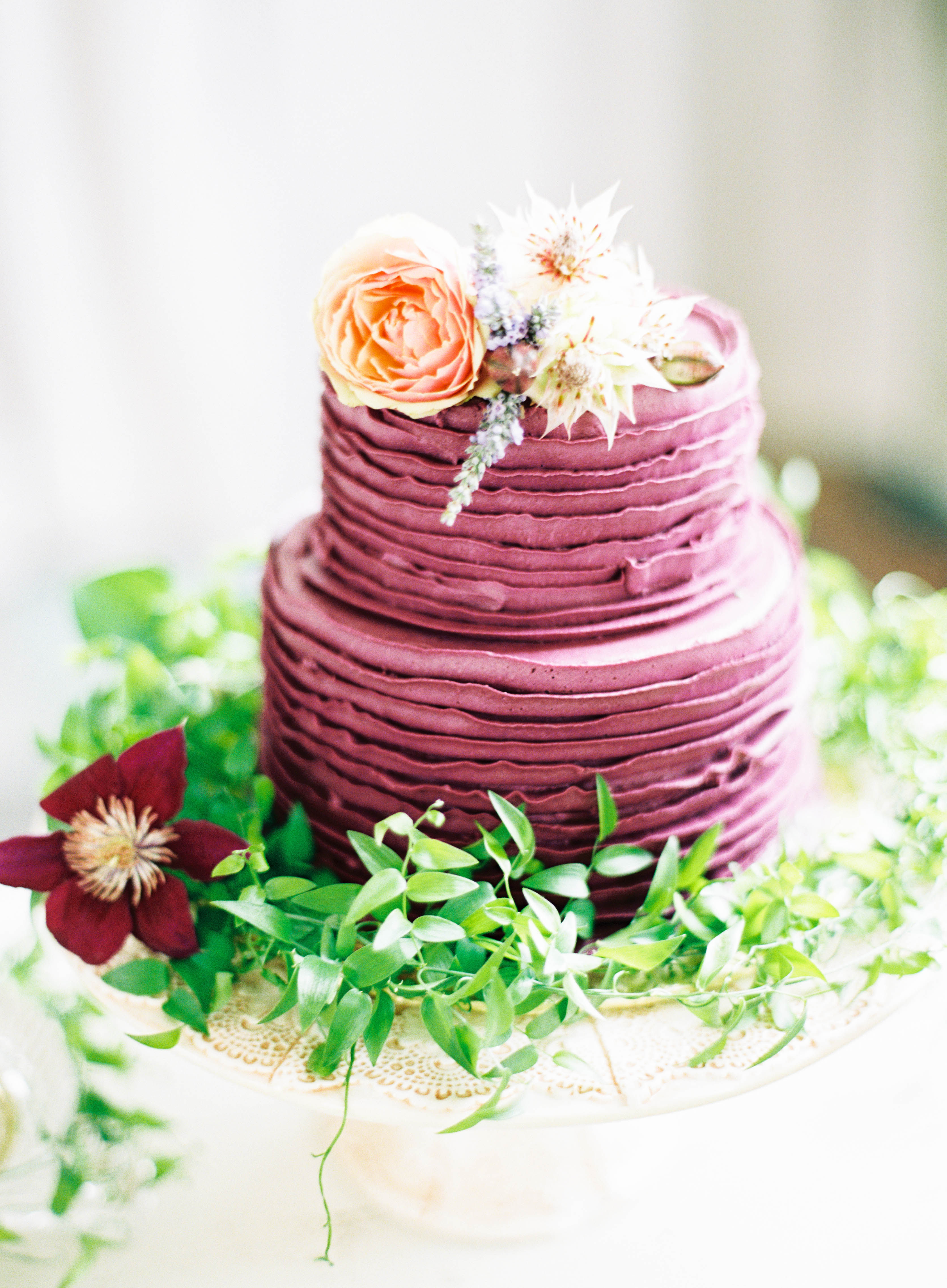 Purple Deckle-Edged Cake with Flowers