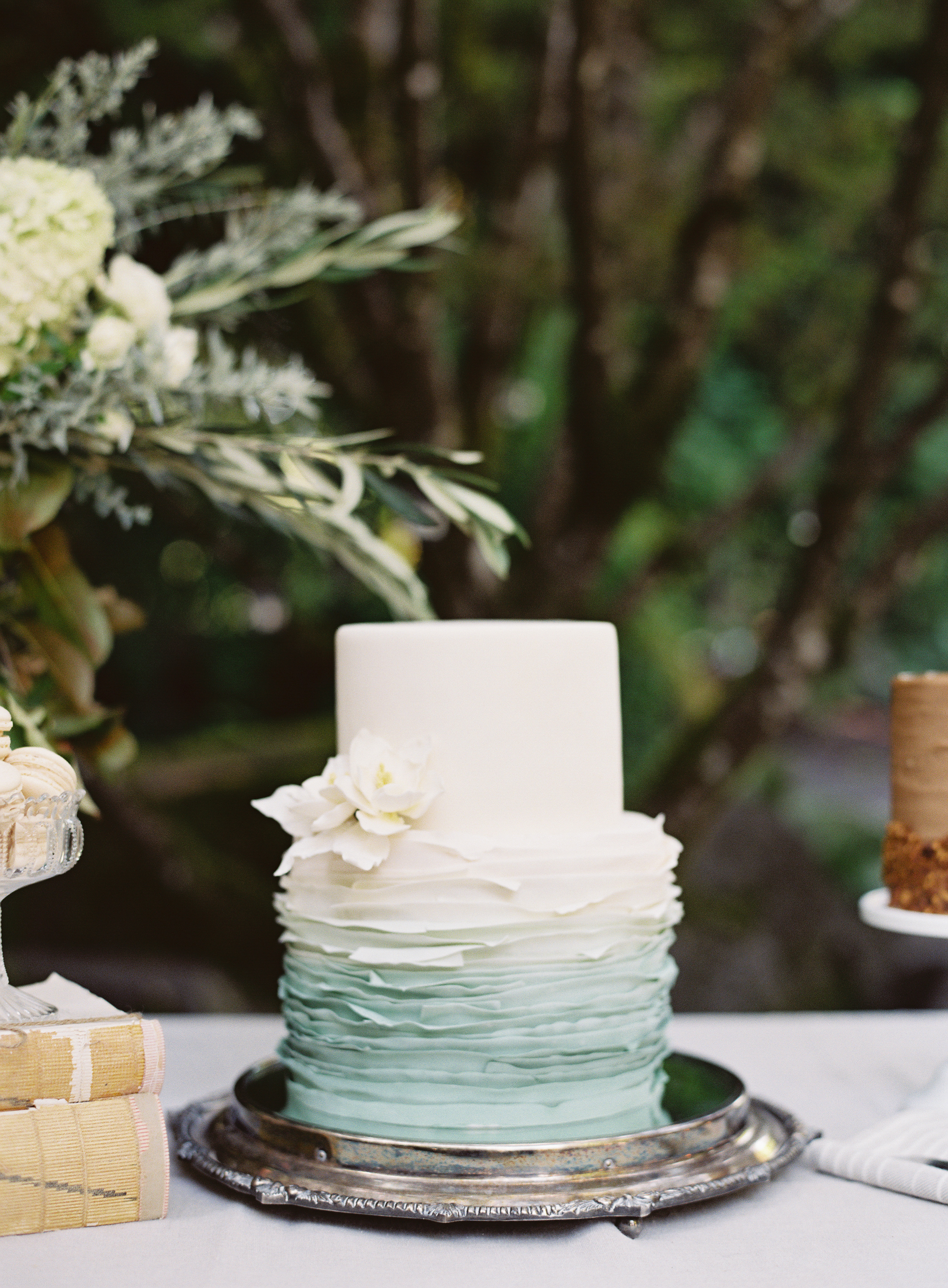 Two-Tiered Deckle-Edge Wedding Cake with Ombre Tiers