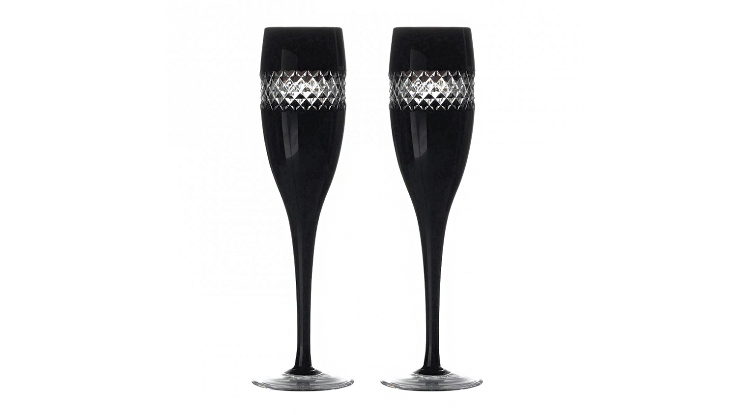 waterford black cut champagne flutes