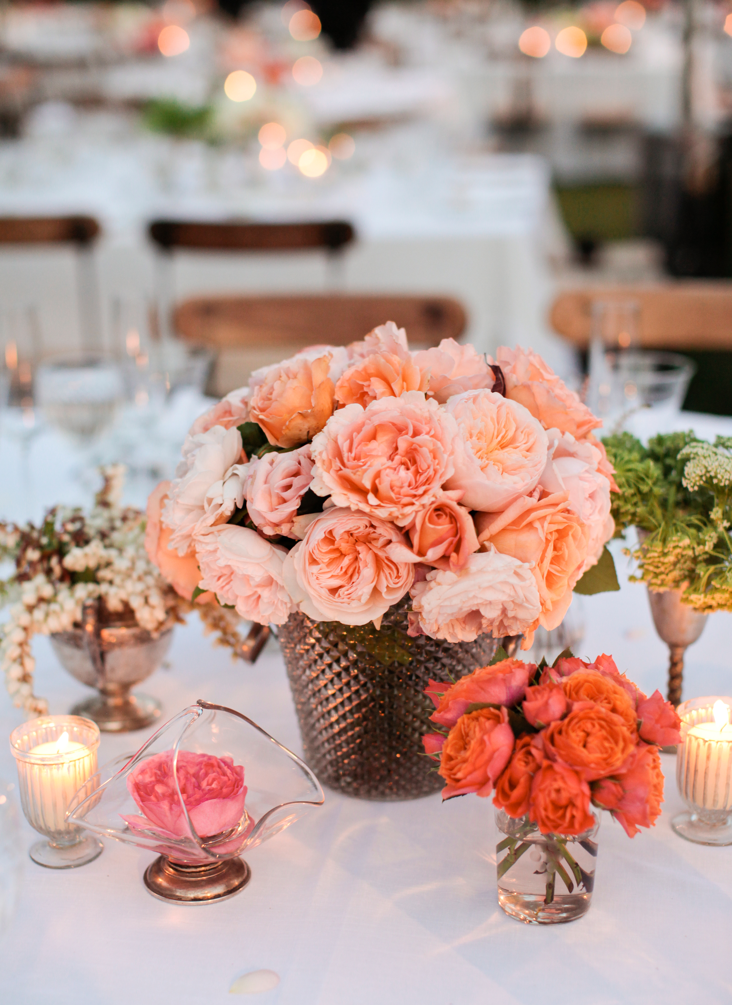 Pink Rose Cluster Centerpieces