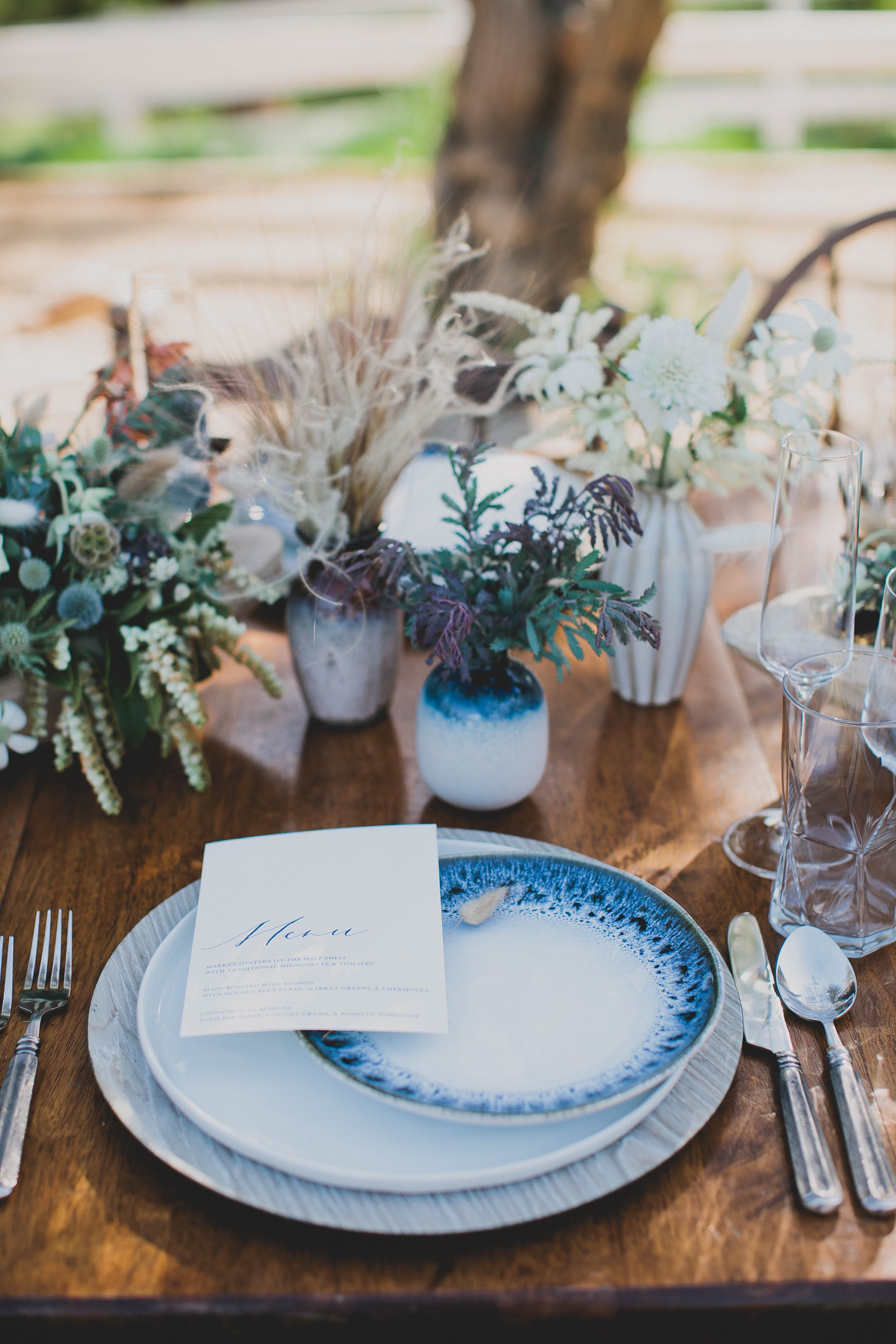 Clay Vases with Cluster Centerpieces