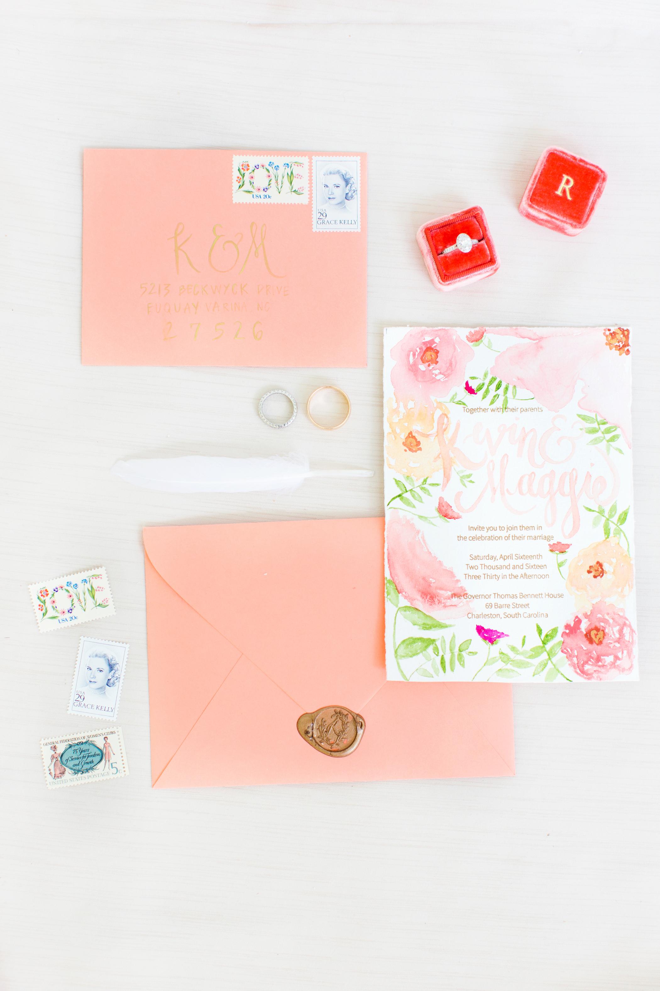 peach watercolor wedding invitation