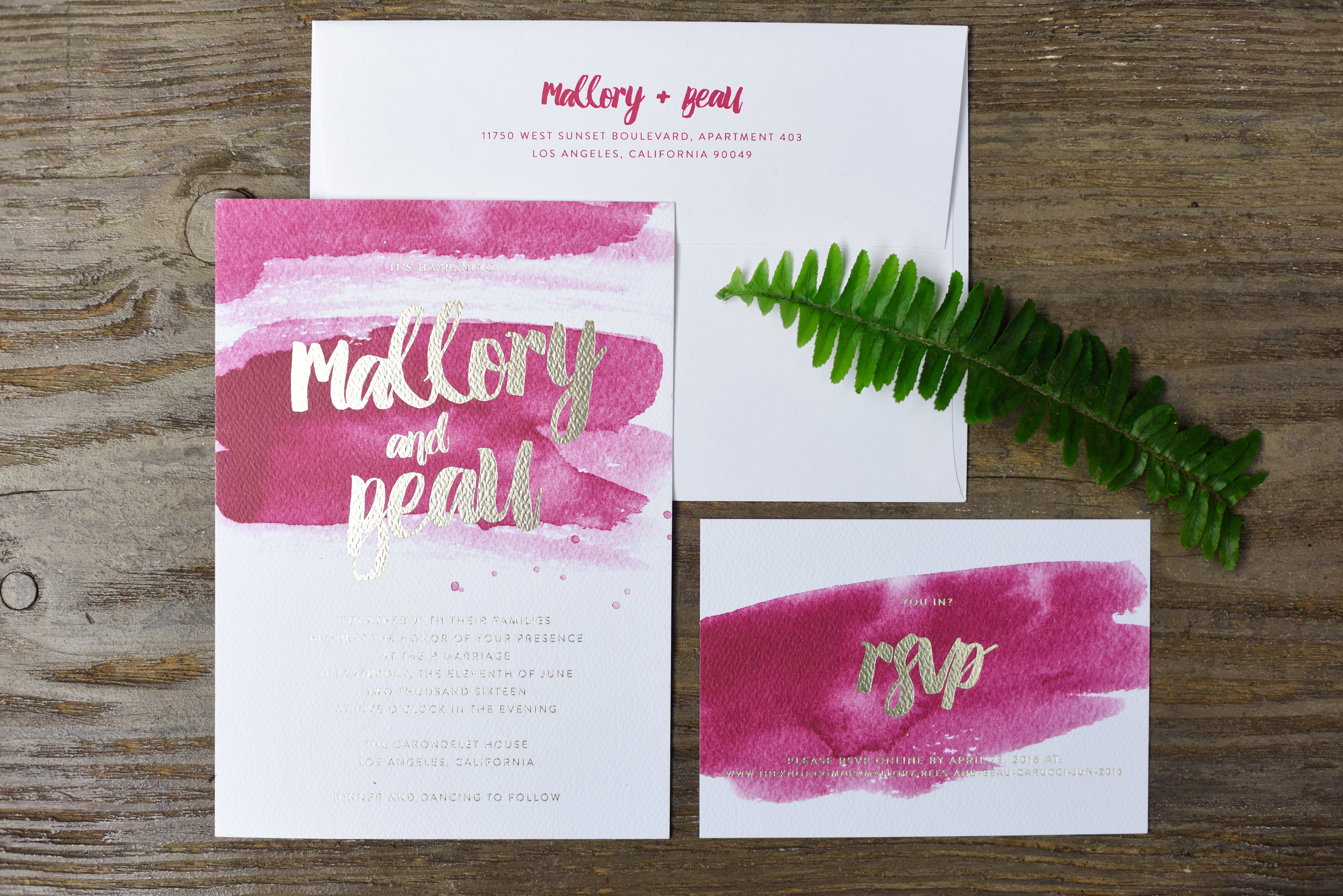 fuchsia watercolor wedding invitation