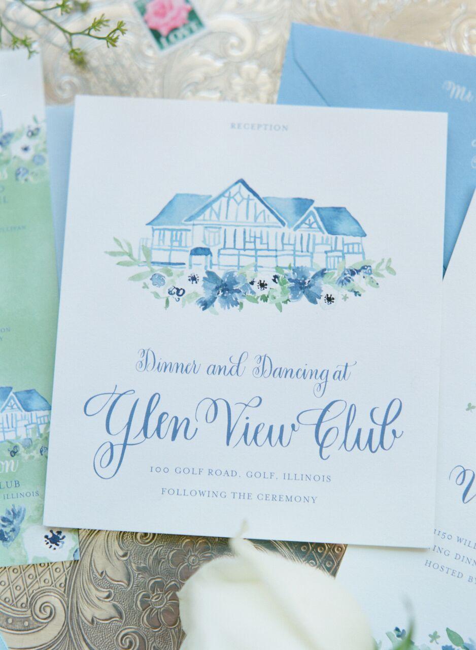 blue and green watercolor wedding invitation