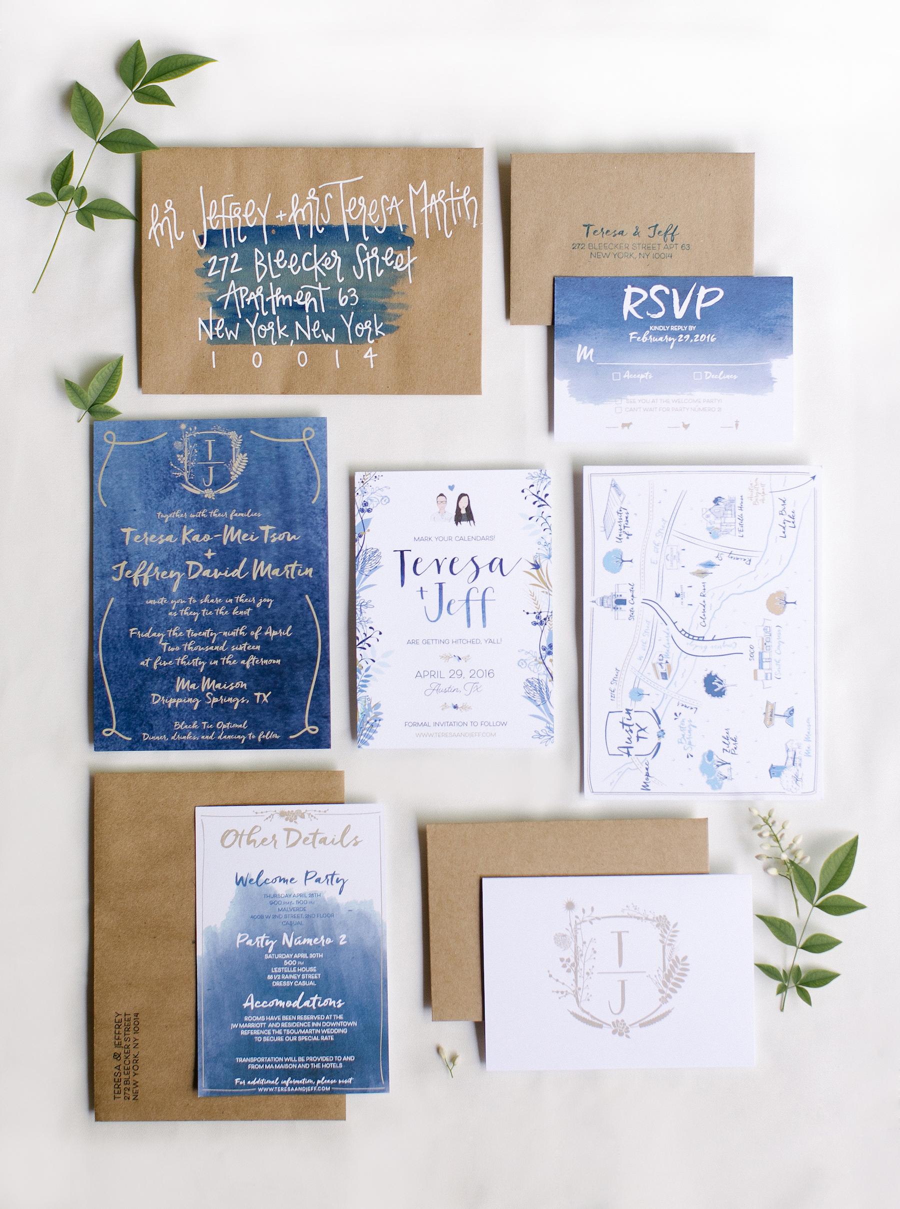 navy watercolor wedding invitation