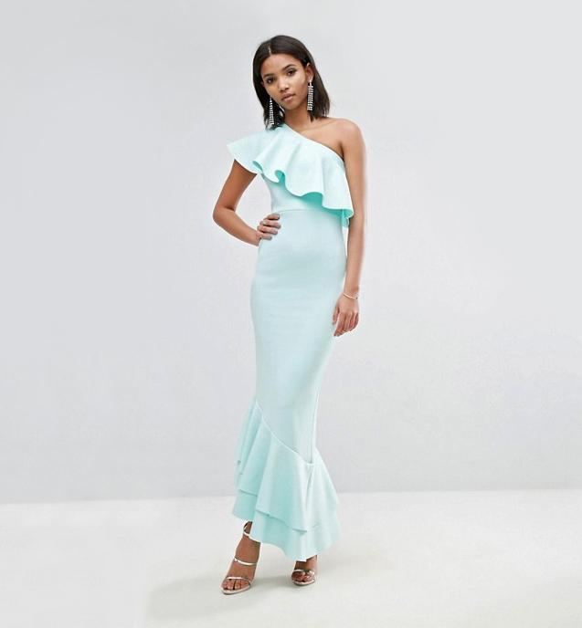 one-shoulder ruffle asymmetric maxi dress