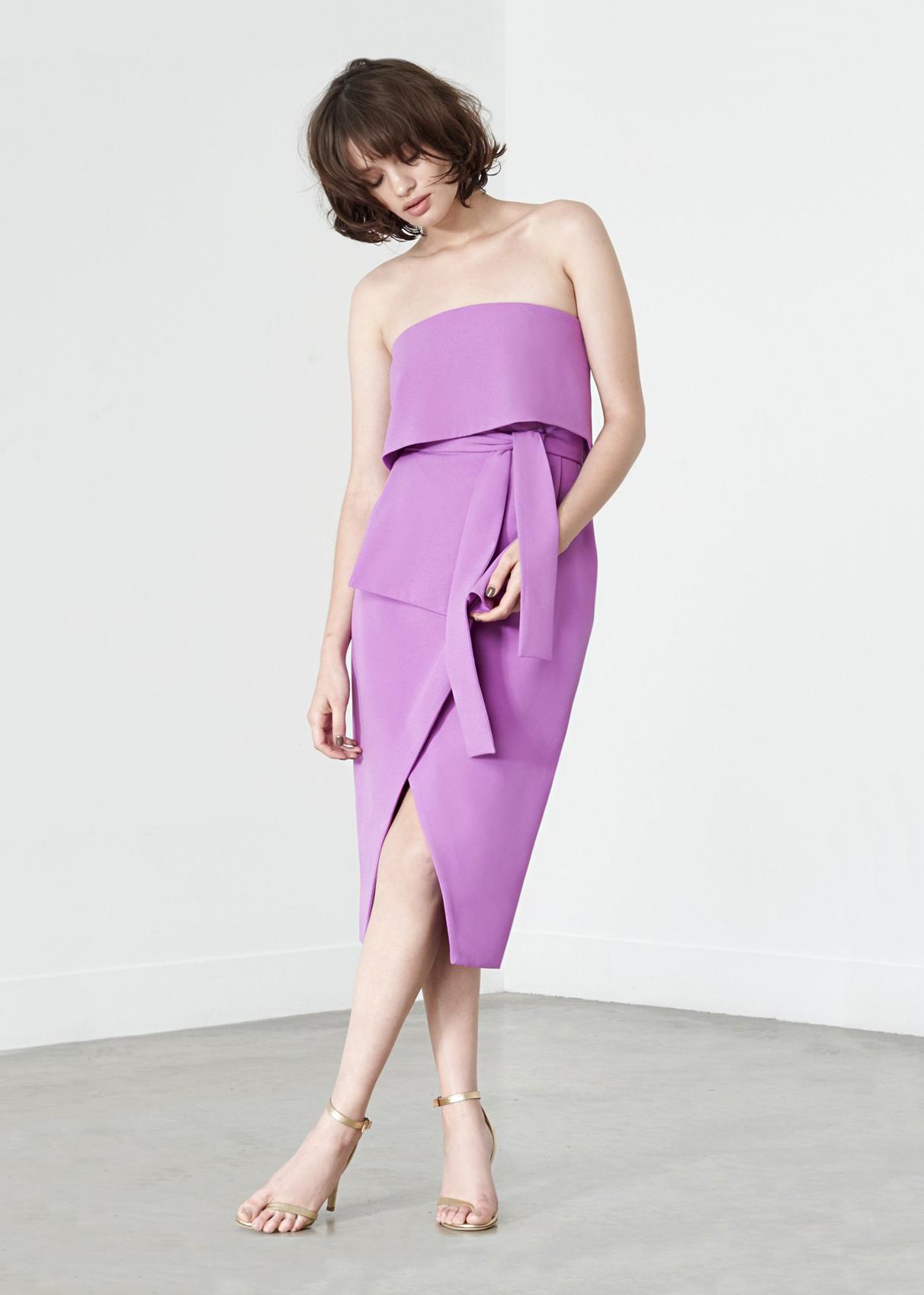 lavish alice tie-front strapless dress