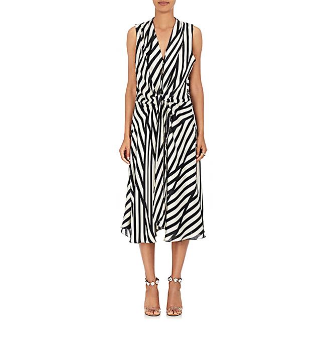 azeeza claire striped wrap dress