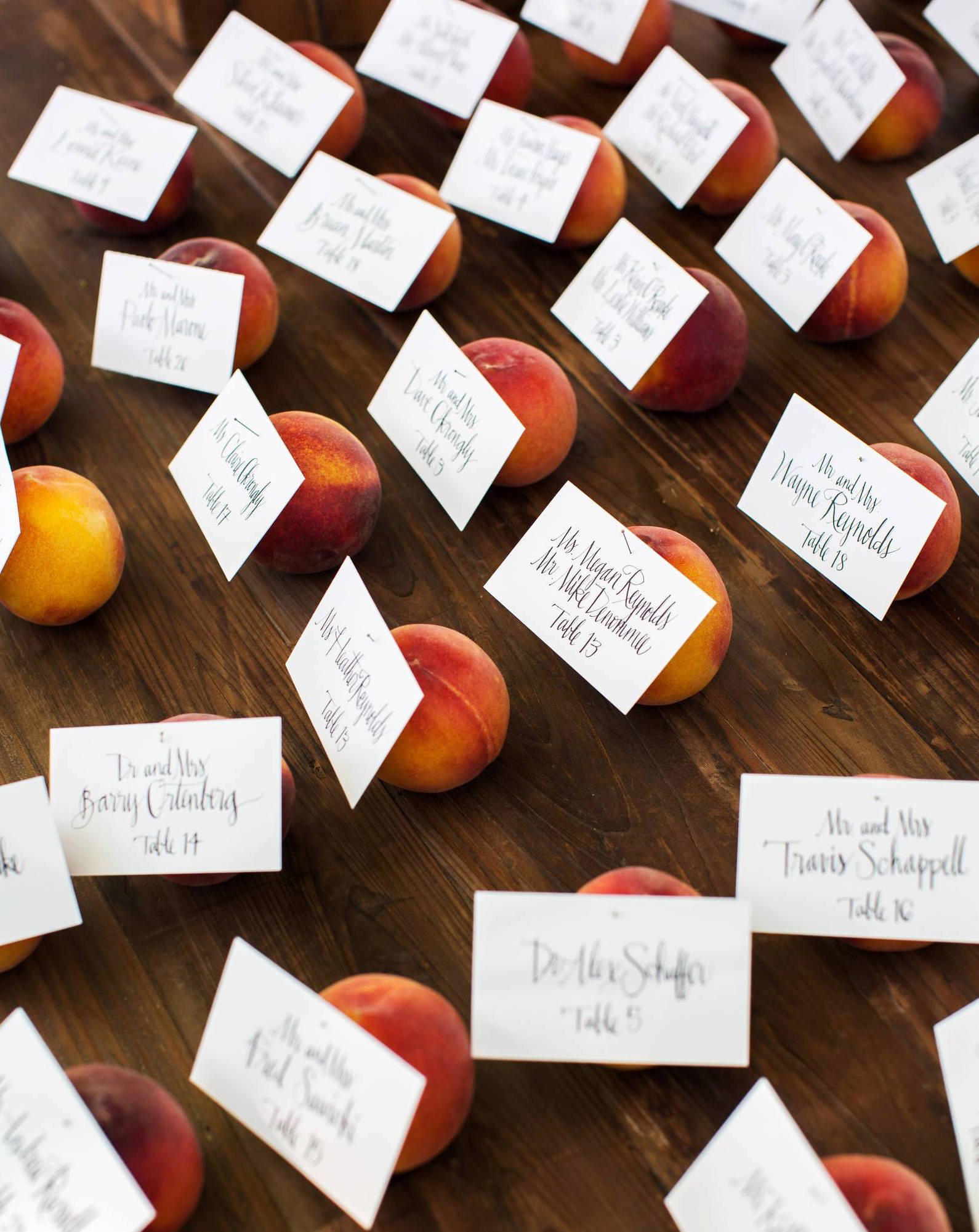 summer wedding details peaches place cards