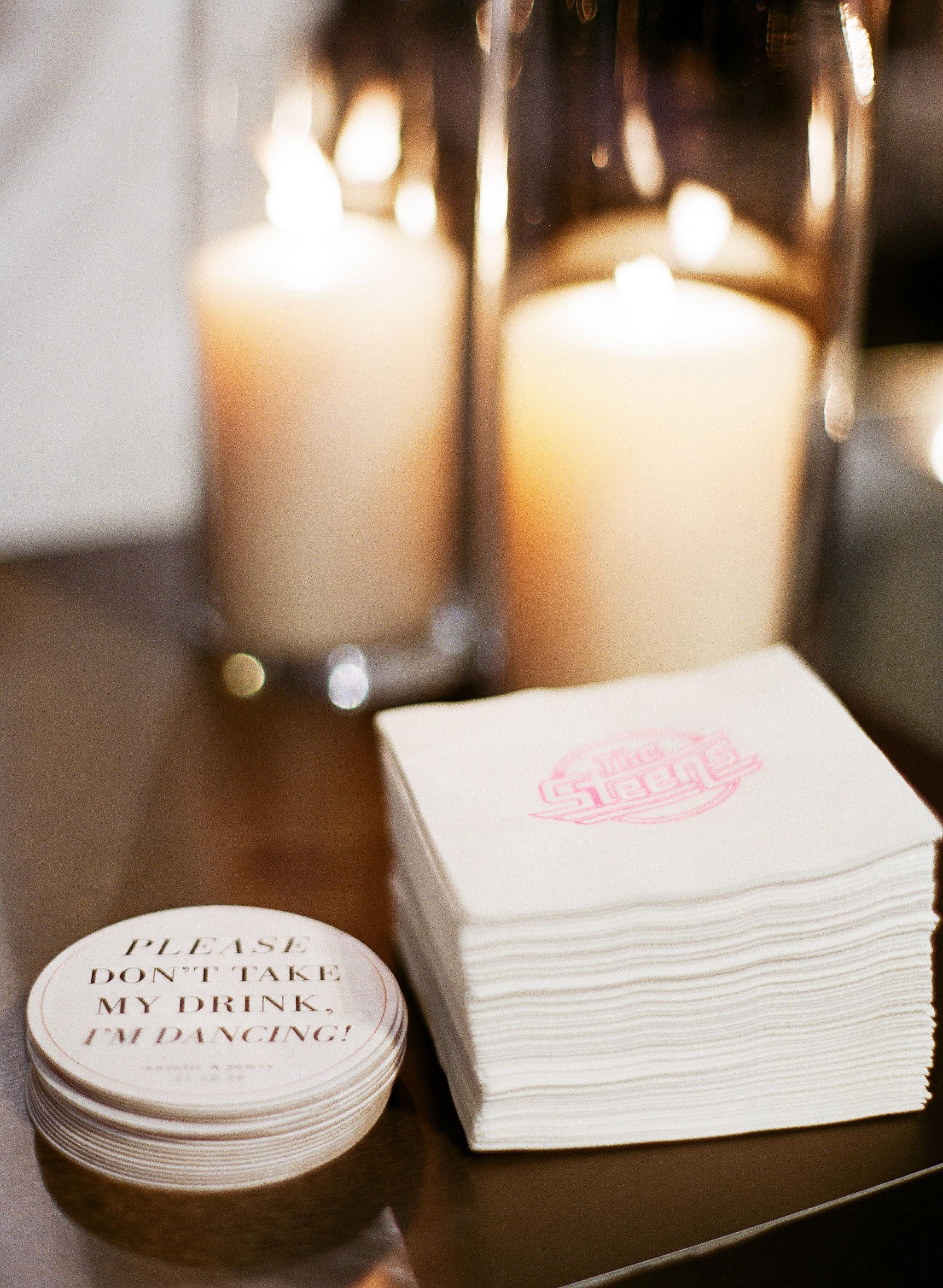 natalie jamey wedding coasters napkins
