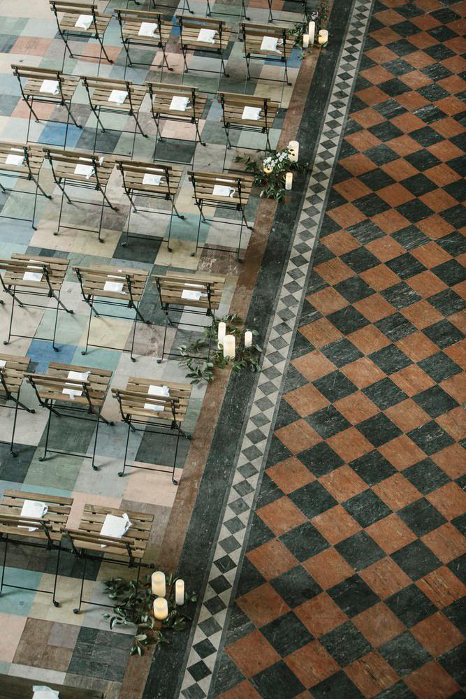 wedding chairs checkered flooring