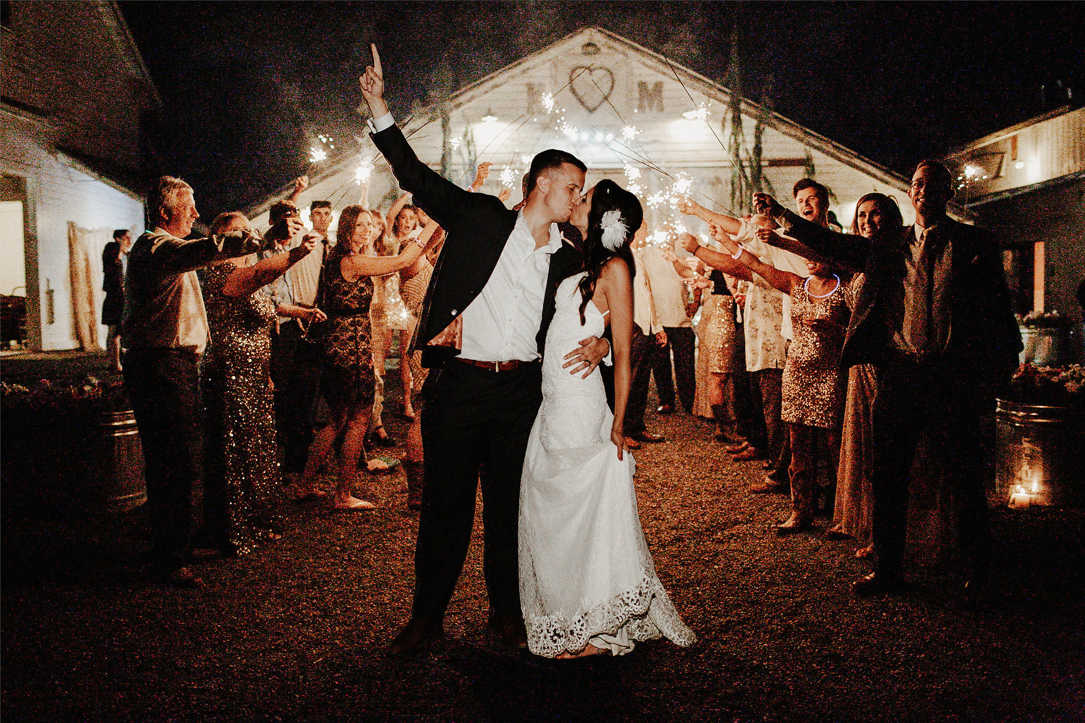 timeless wedding photos couple sparklers send off
