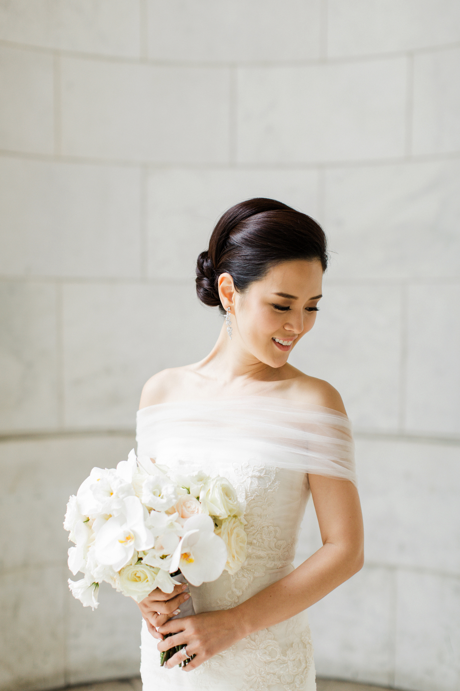 bride in off-the-shoulder dress