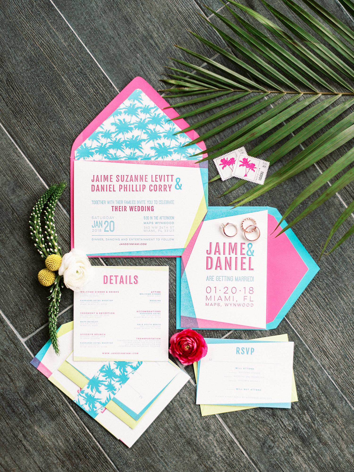 bright pink and blue tropic geometric wedding invitations