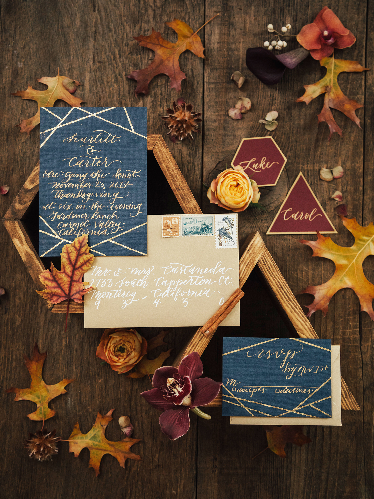 autumn fall asymmetrical geometric wedding invitations