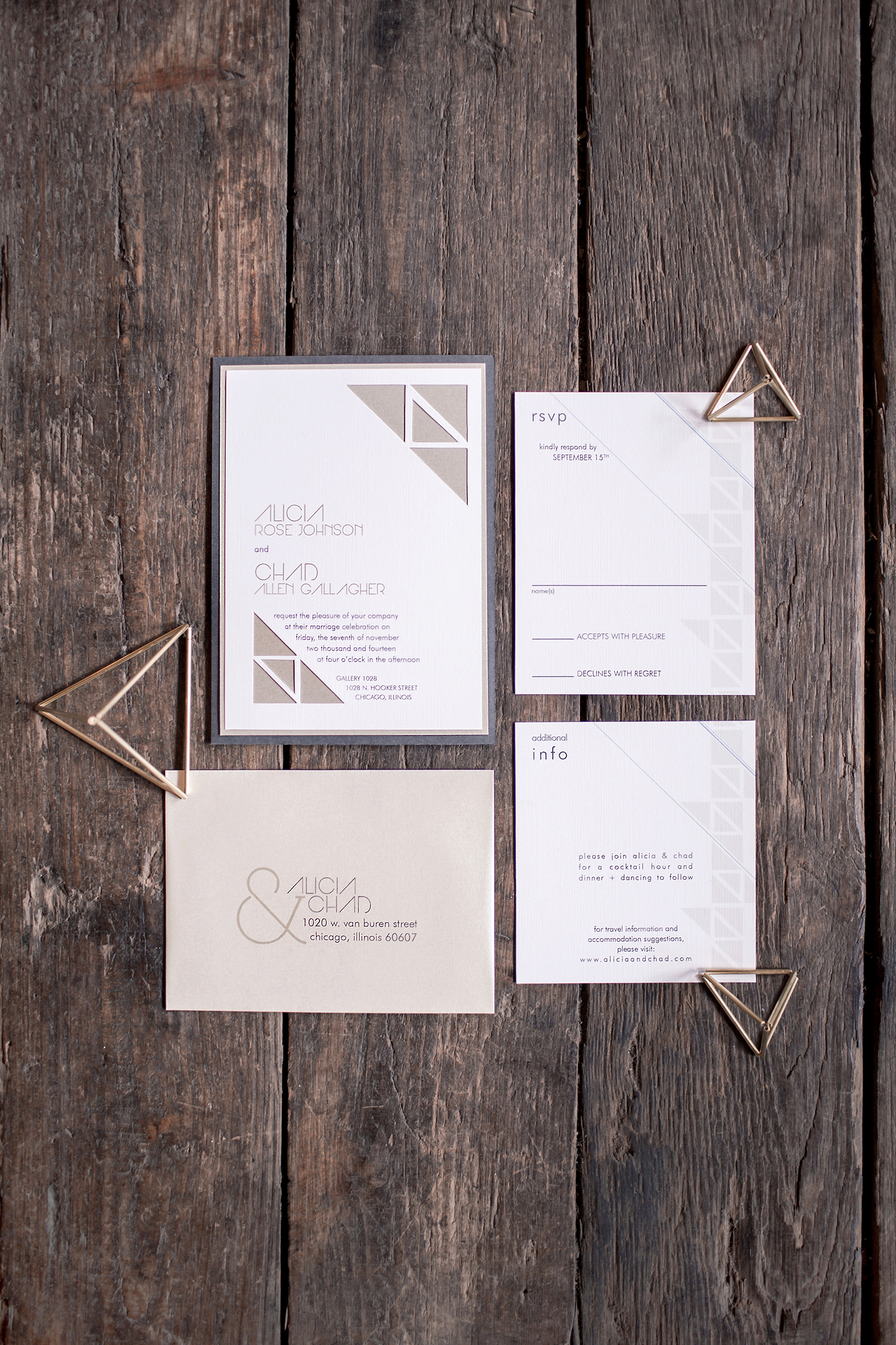 triangle cut out neutral color geometric wedding invitations