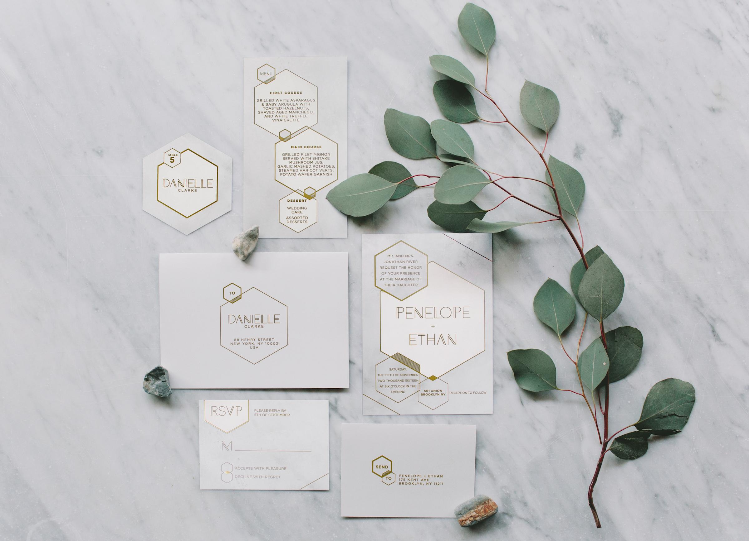 hexagonal wedding invitation