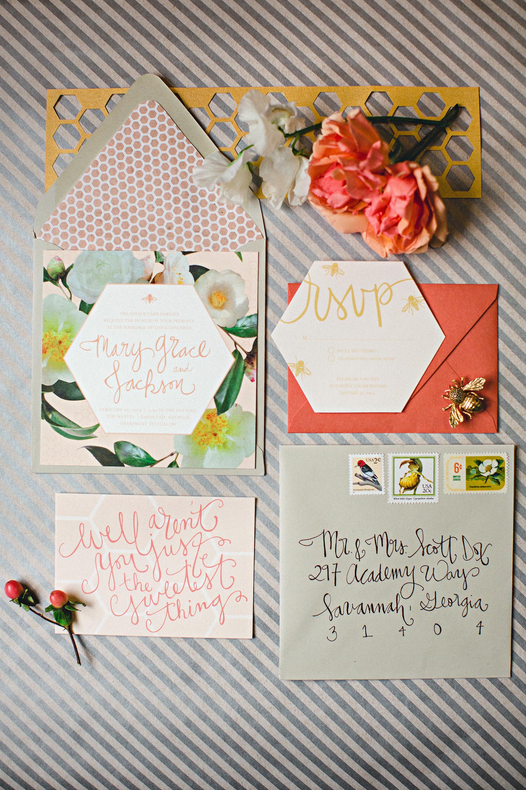 honeycomb wedding invitation