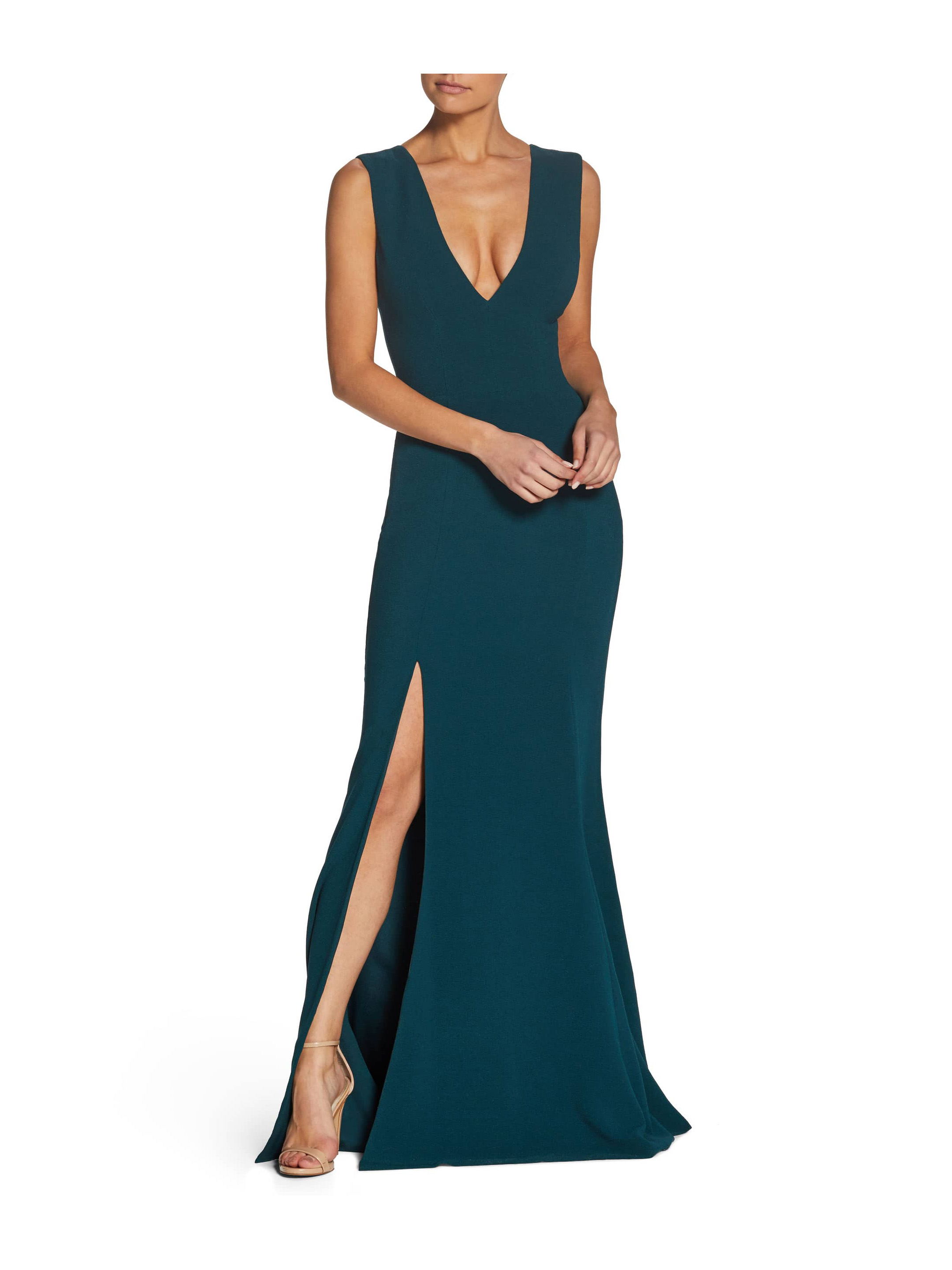 long green fall wedding guest dress with plunging neckline