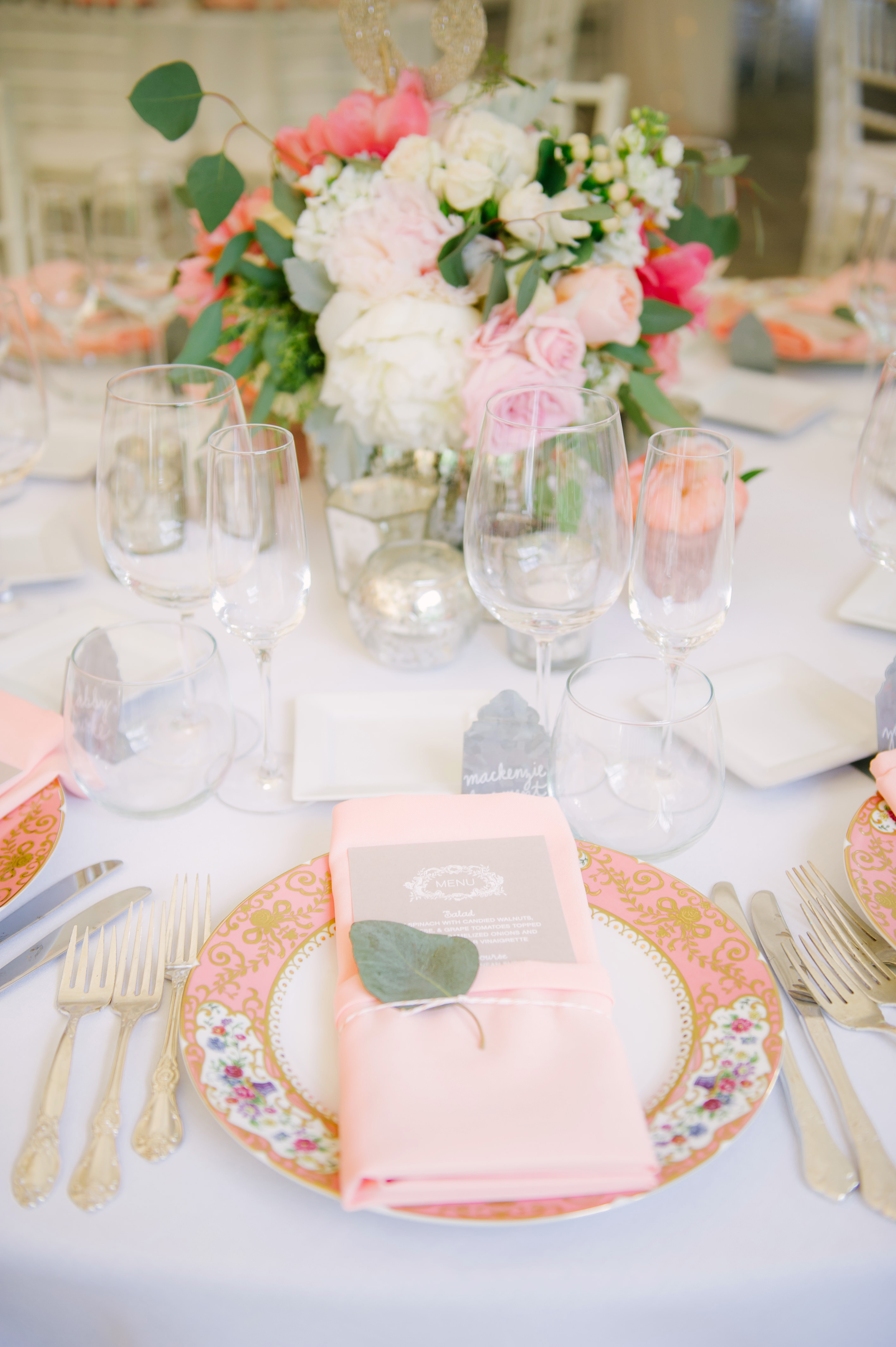 Pink-Rimmed Plates