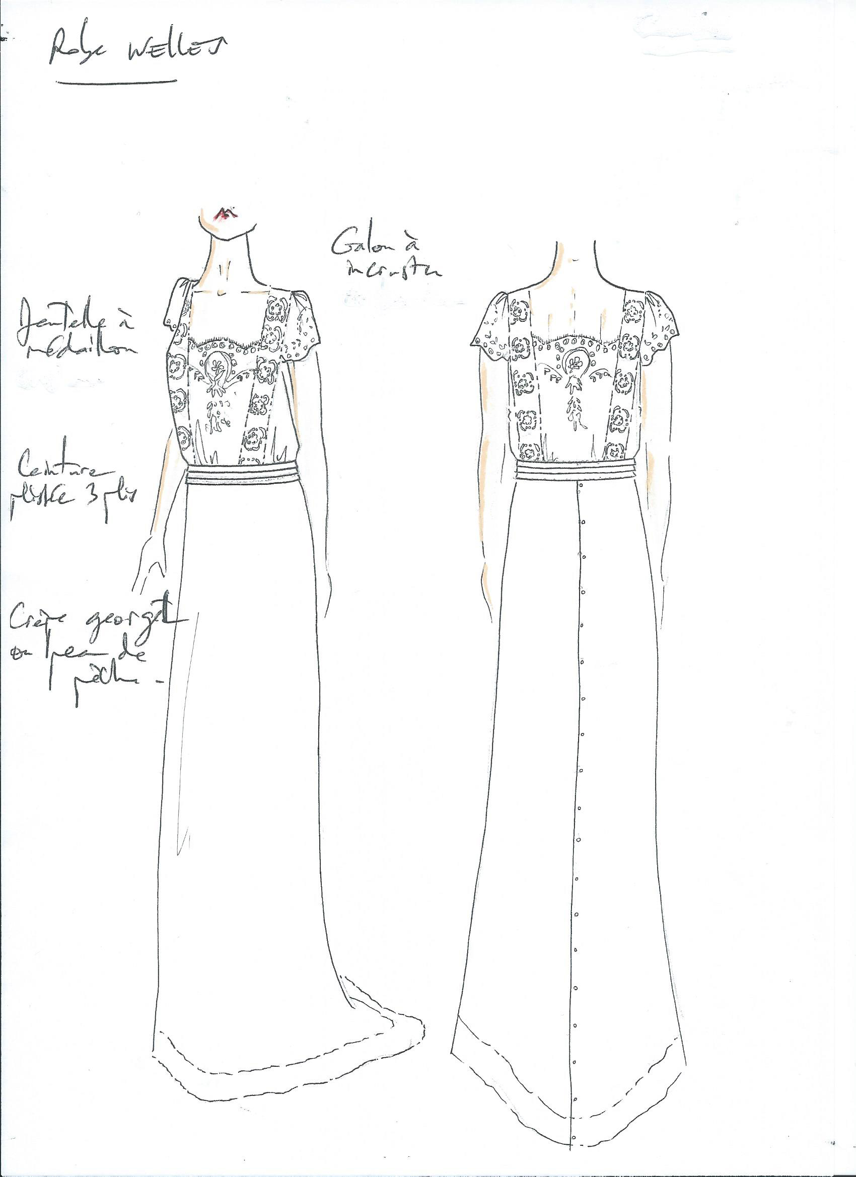 laure de sagazan wedding dress sketch
