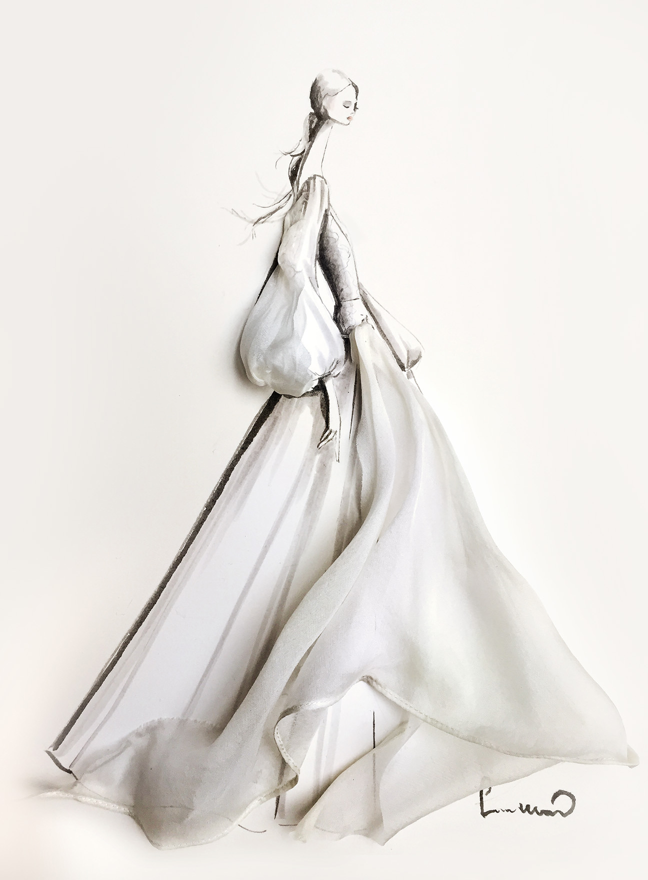 leanne marshall wedding dress sketch