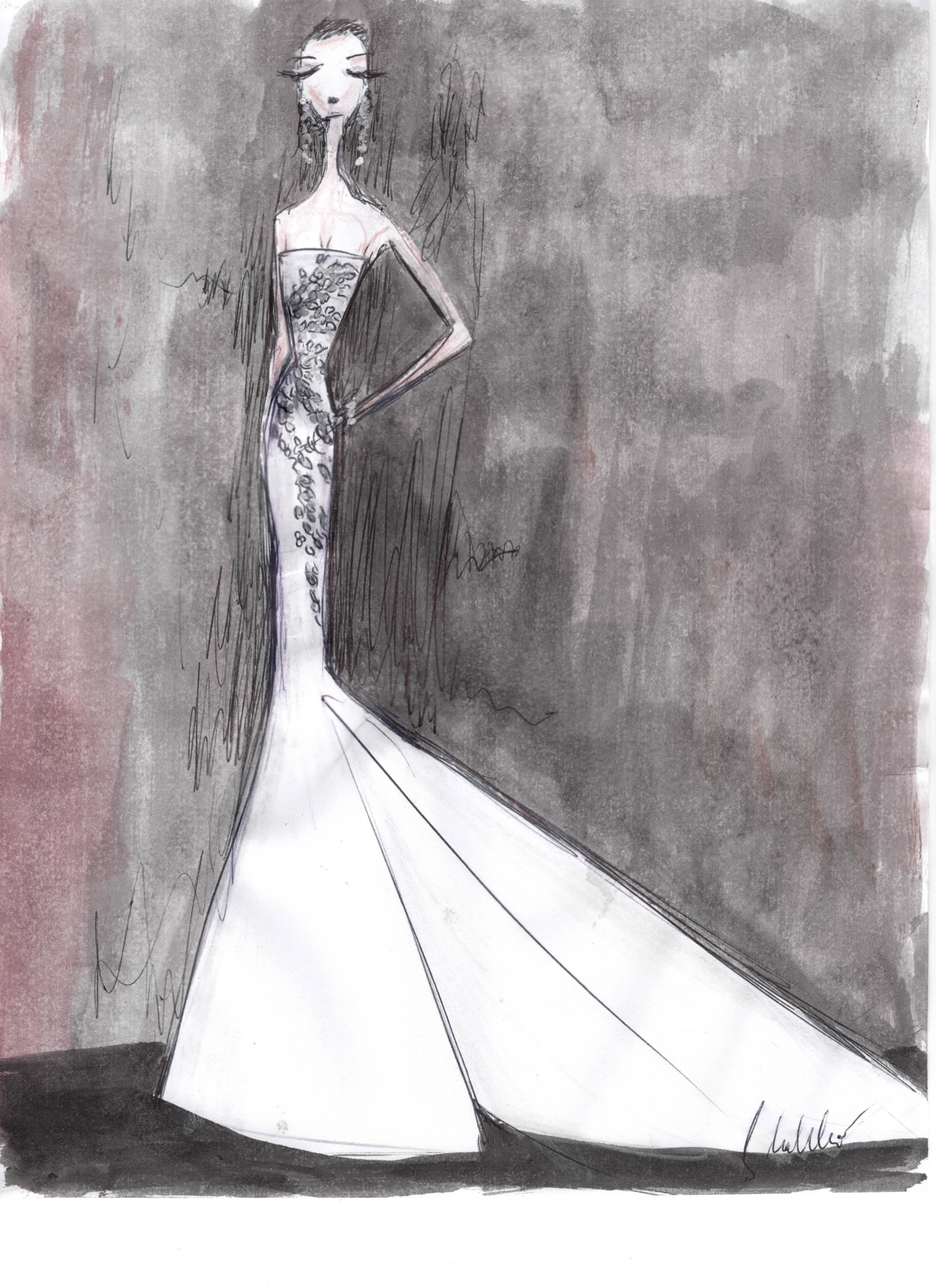 liancarlo wedding dress sketch