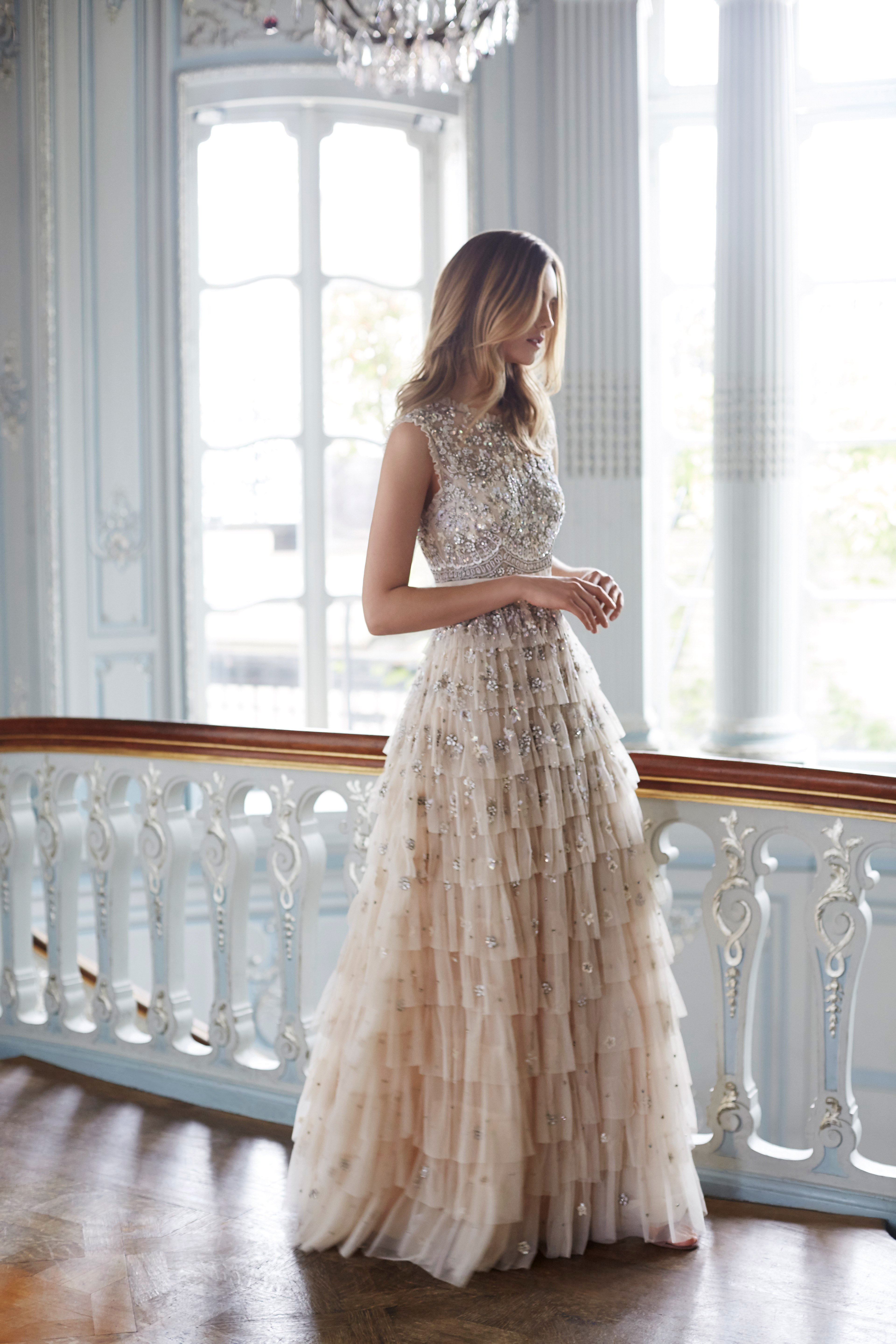 needle and thread wedding dresses fall 2017 sleeveless champagne color sparkle ruffles