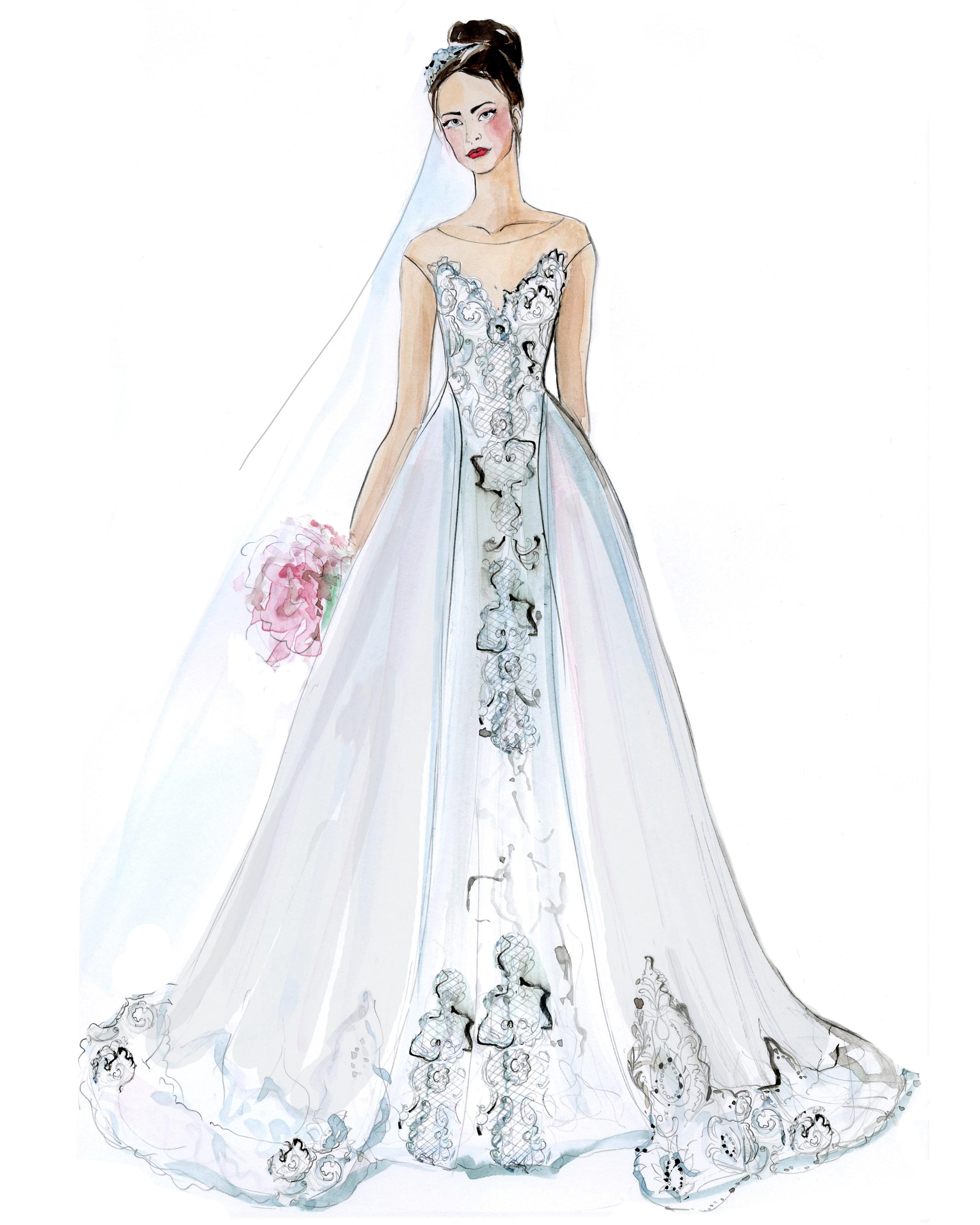 olvis wedding dress sketch
