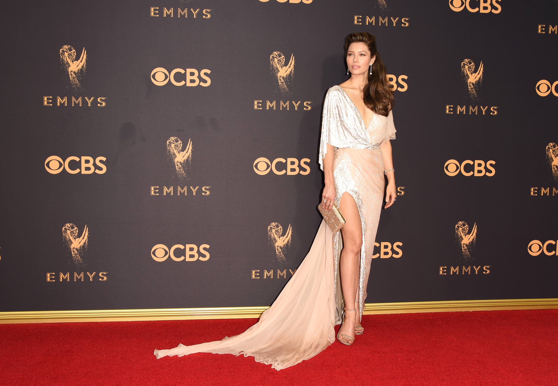 Jessica Biel Emmys Red Carpet 2017