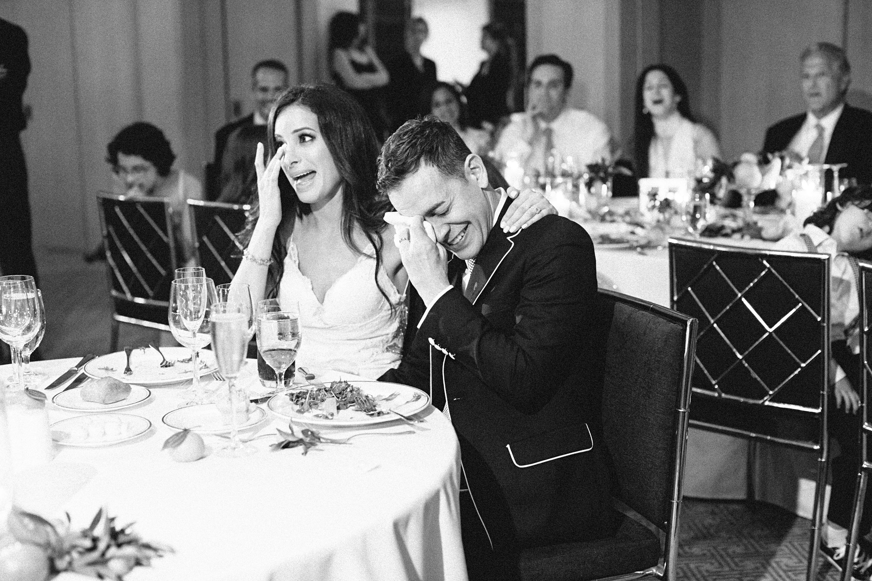 couple crying reception