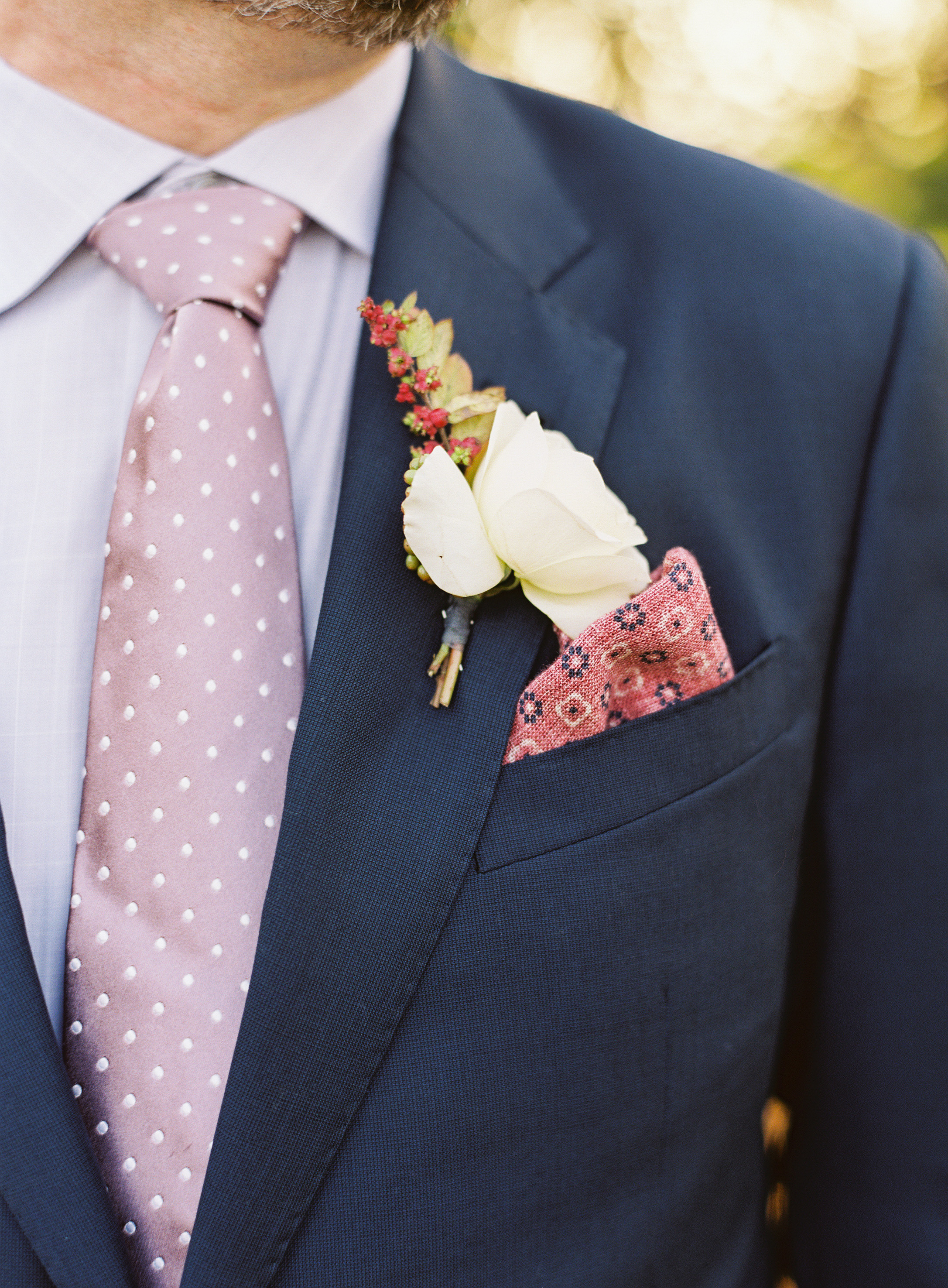 red-and-white boutonniere