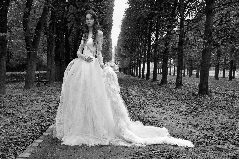 vera wang shear long sleeves tule ball gown wedding dress fall 2018