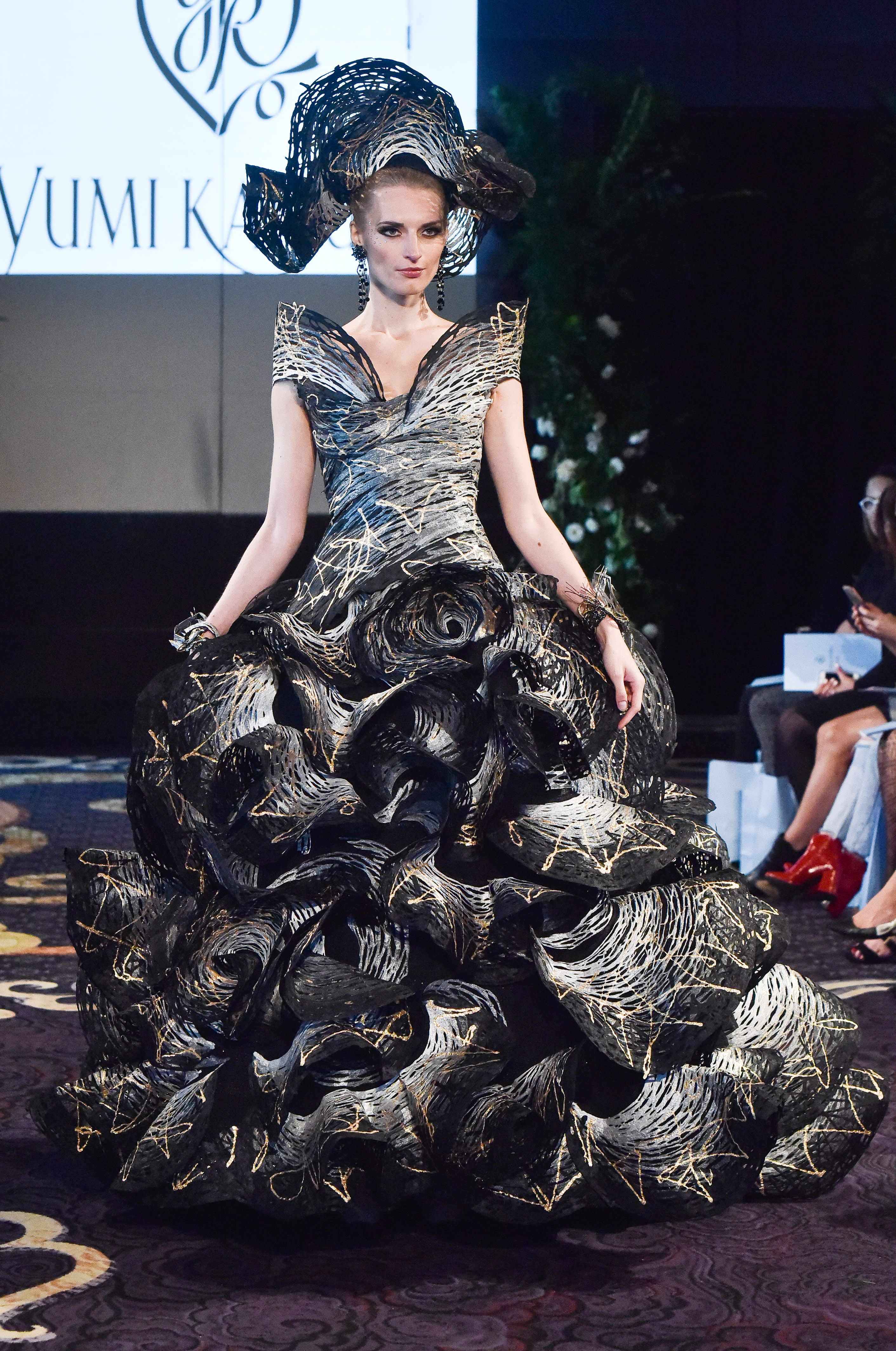 yumi katsura black wedding and white ruffle dress fall 2018