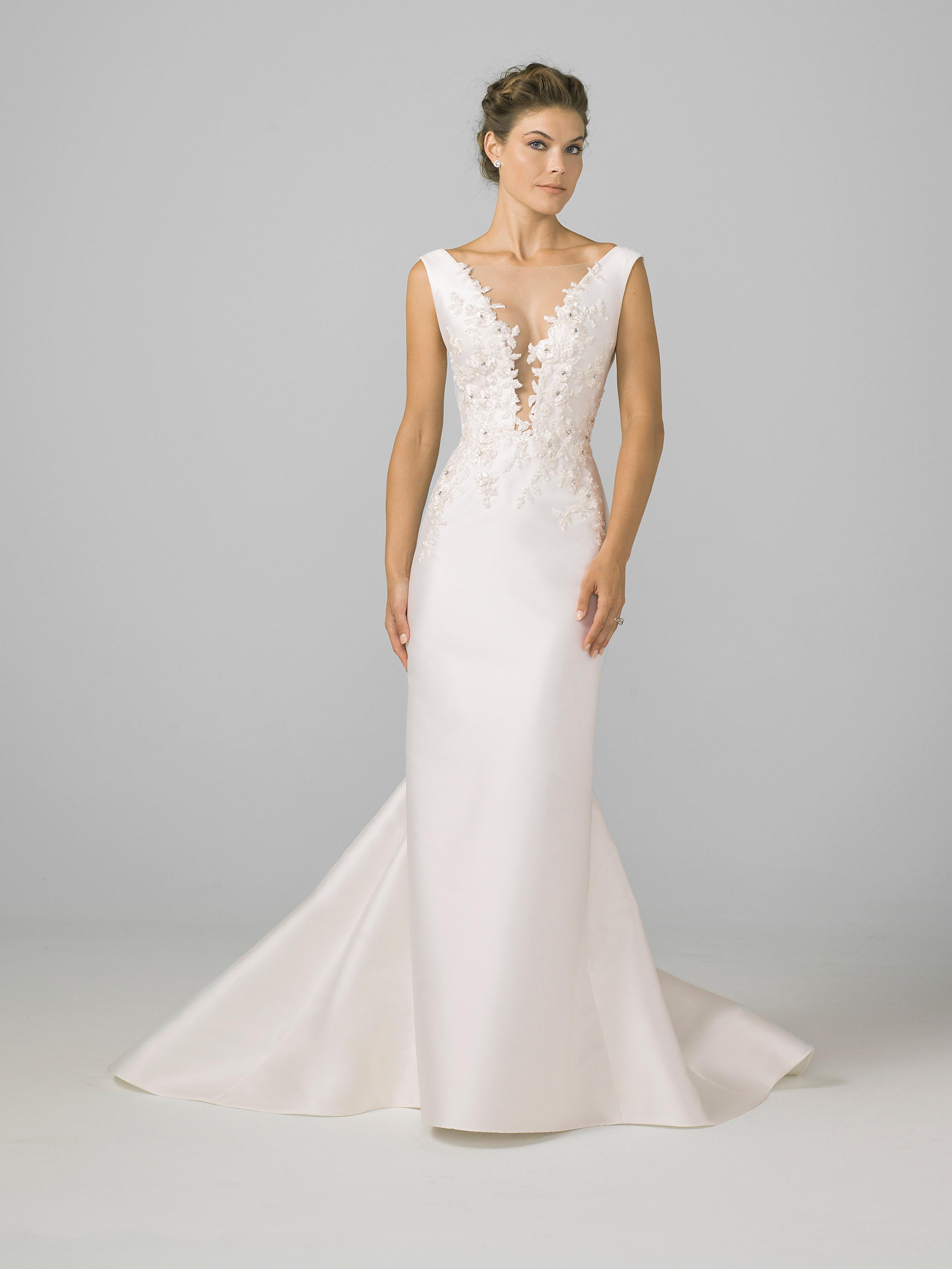 azul by liancarlo 2018 deep v-neck flower detail wedding dress