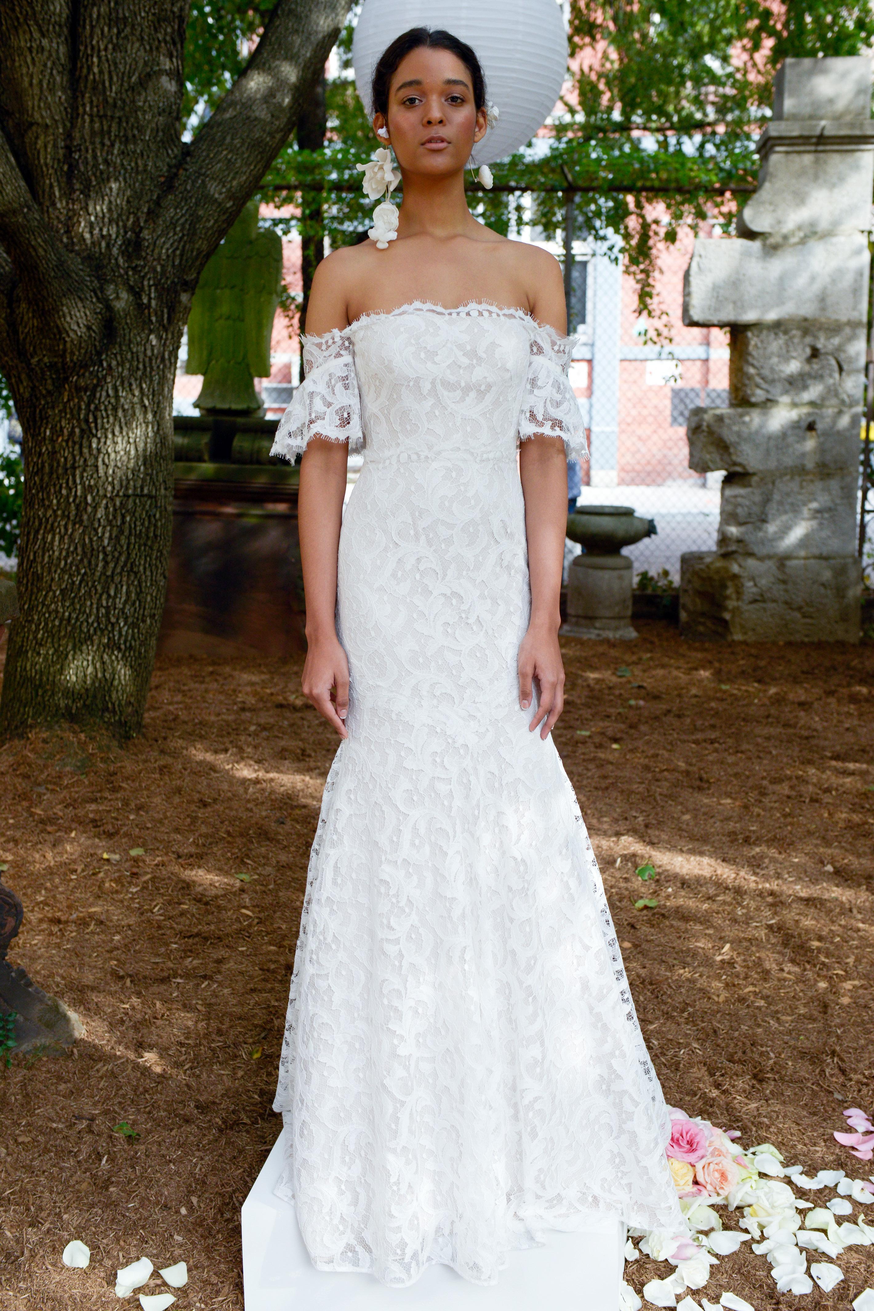 lela rose wedding dress bridal market fall 2018 drop shoulder lace