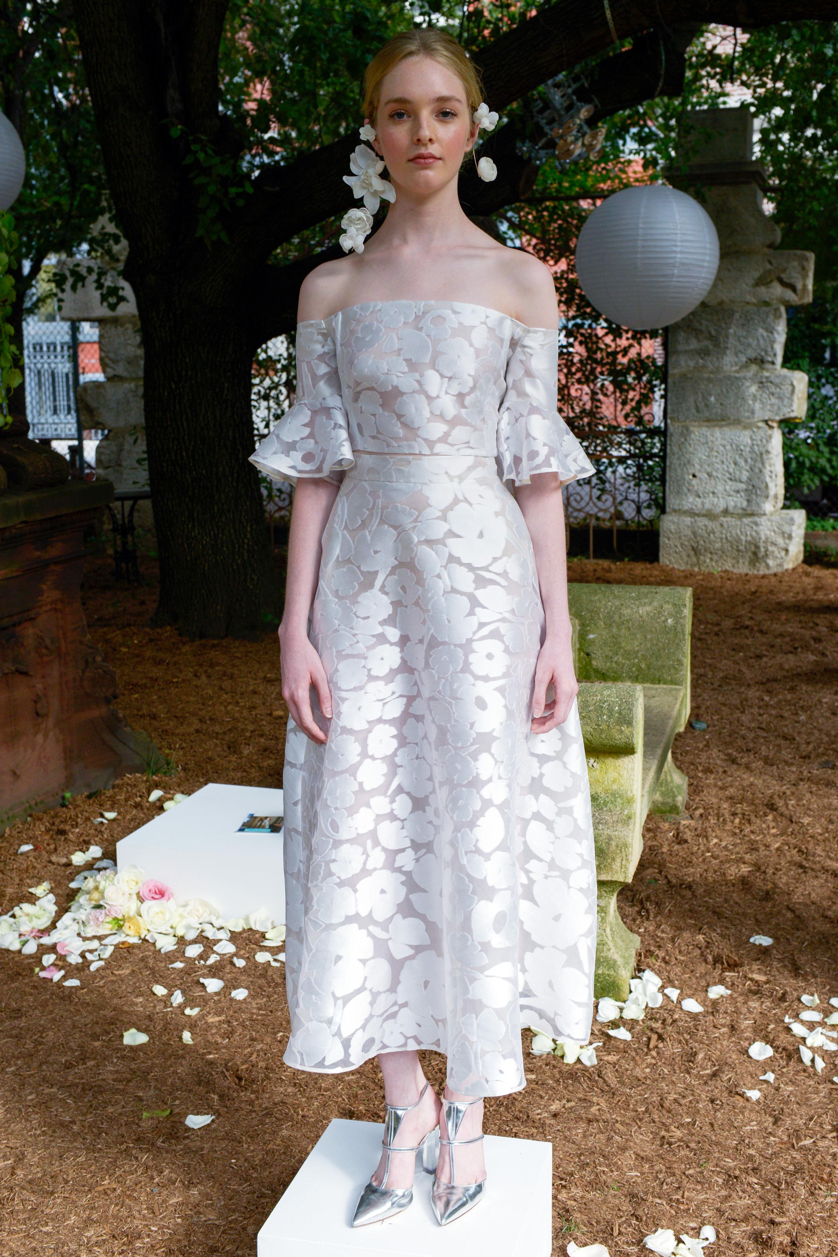 lela rose wedding dress bridal market fall 2018 off the shoulder