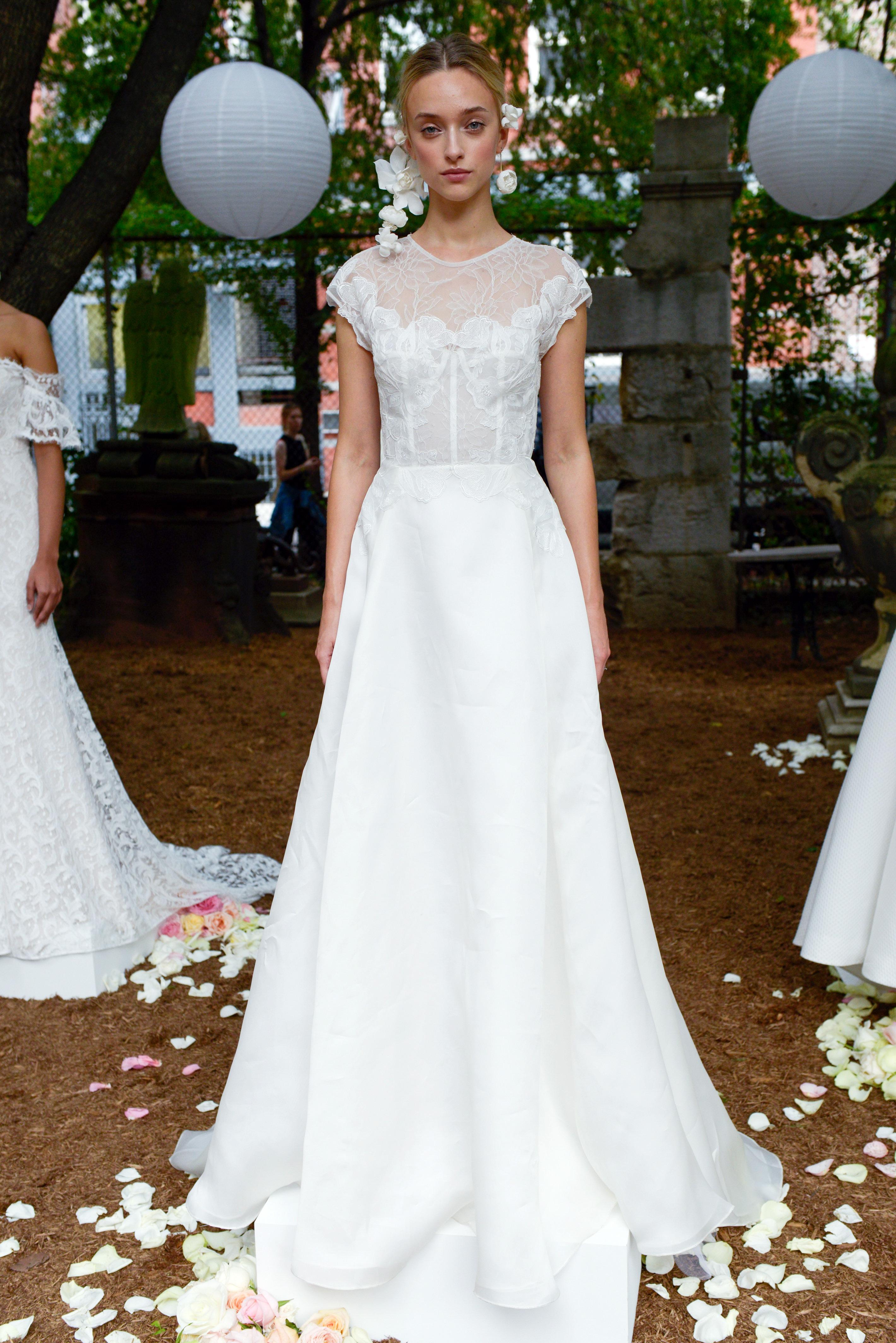 lela rose wedding dress bridal market fall 2018 high neck cap sleeve