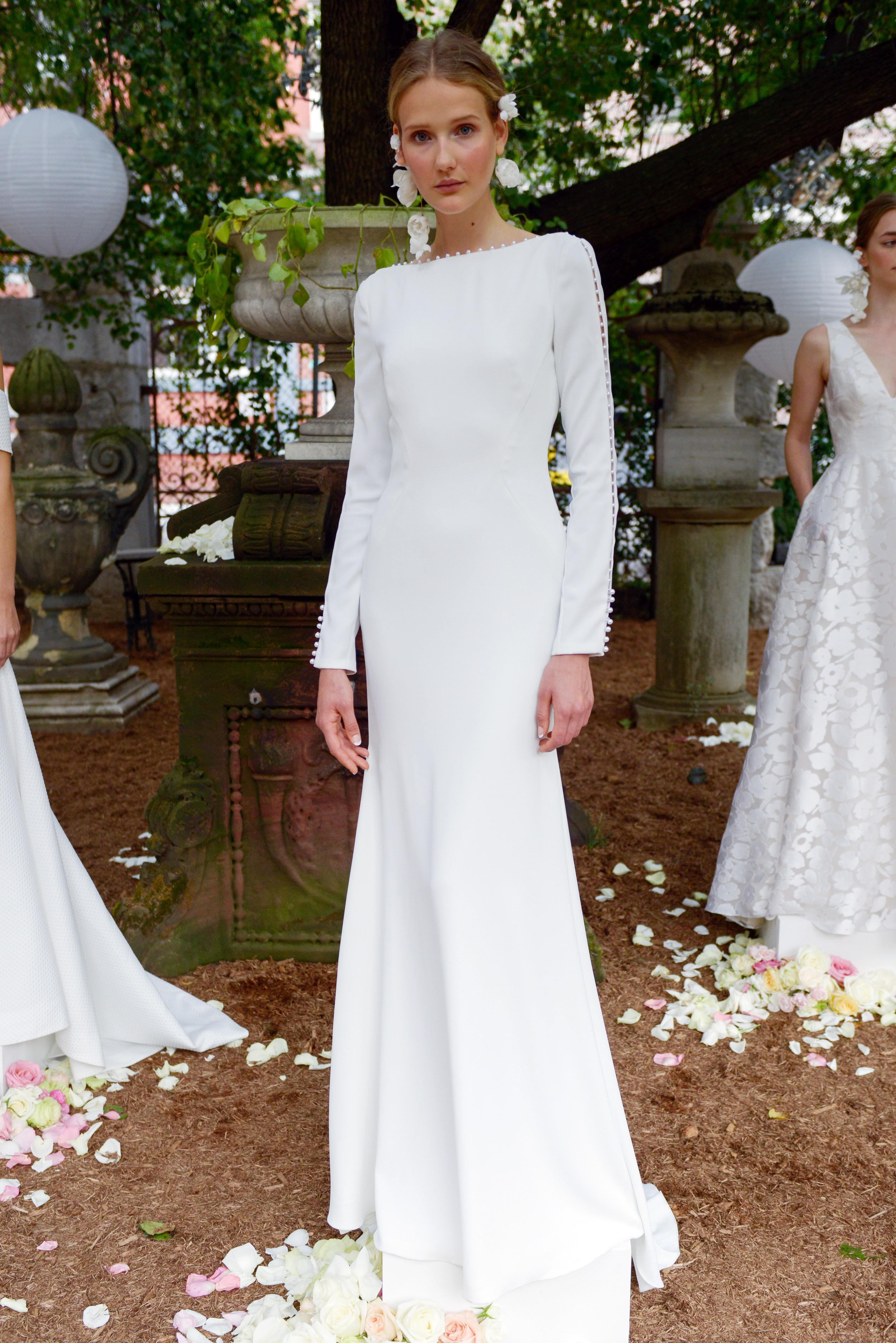 lela rose wedding dress bridal market fall 2018 high neck bateau long sleeve