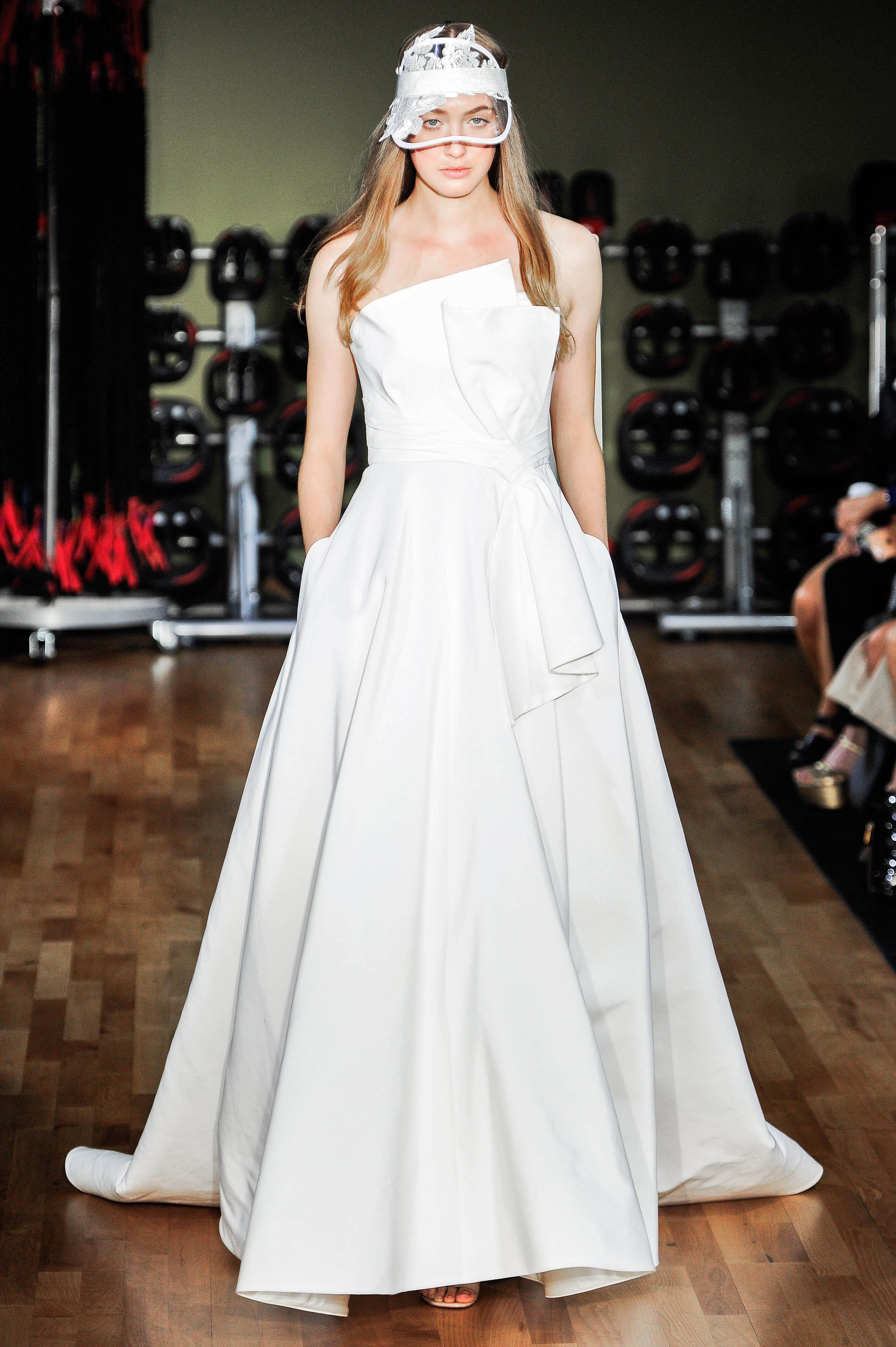 rivini by rita vinieris wedding dress fall 2018 strapless architectual pockets bow ball gown