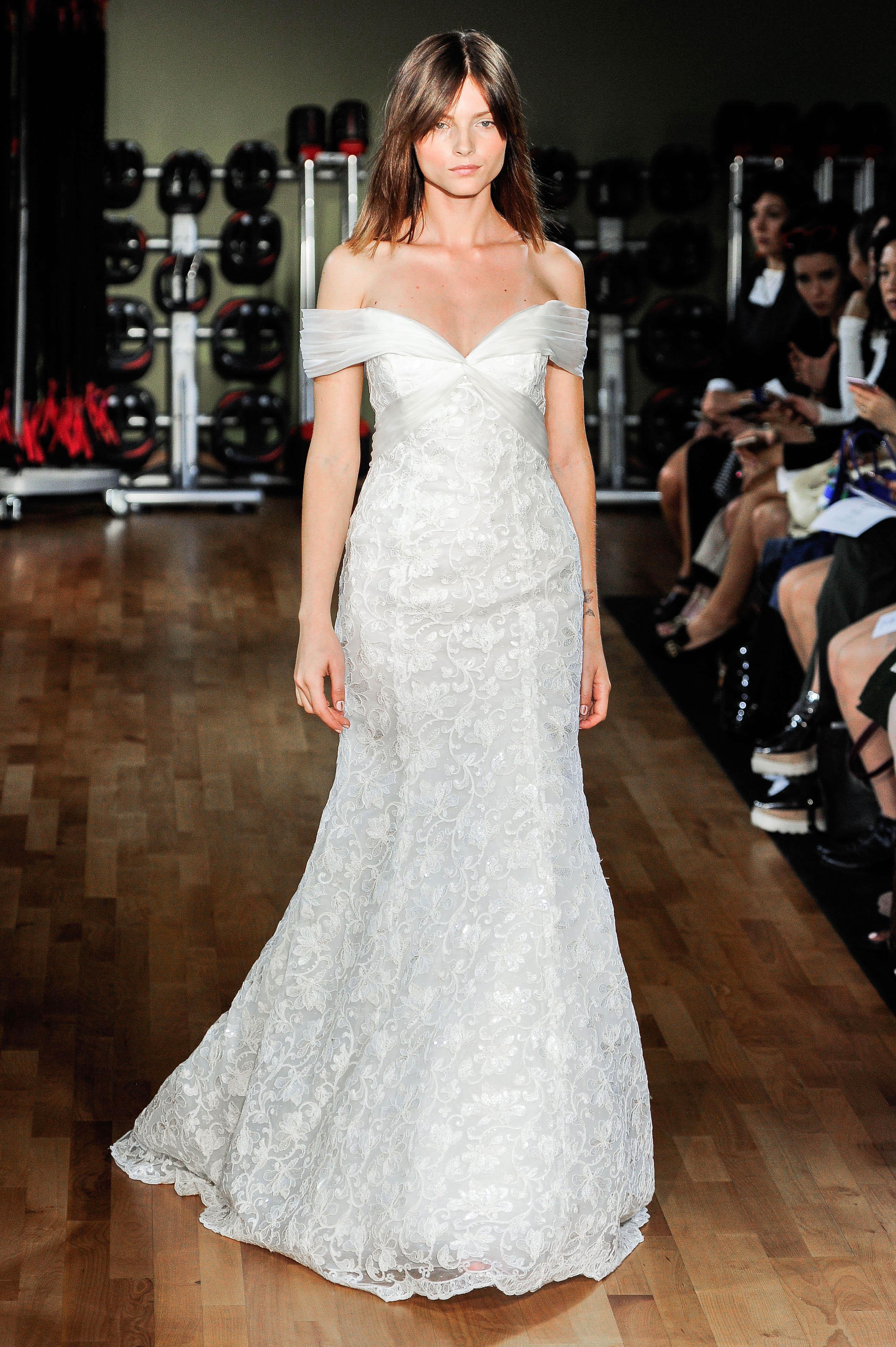 rivini by rita vinieris wedding dress fall 2018 lace off the shoulder trumpet